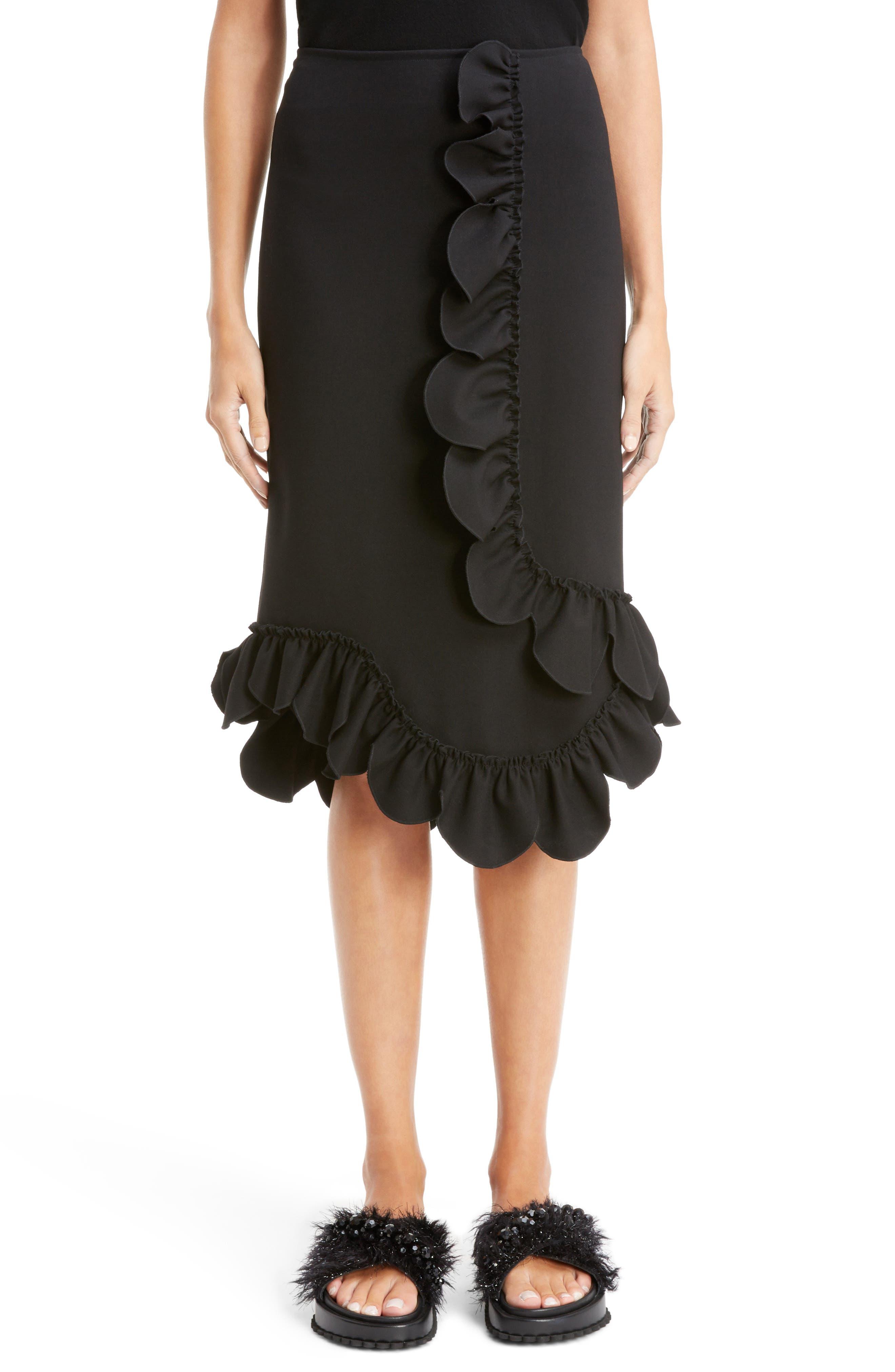Asymmetrical Ruffle Skirt,                         Main,                         color, Black