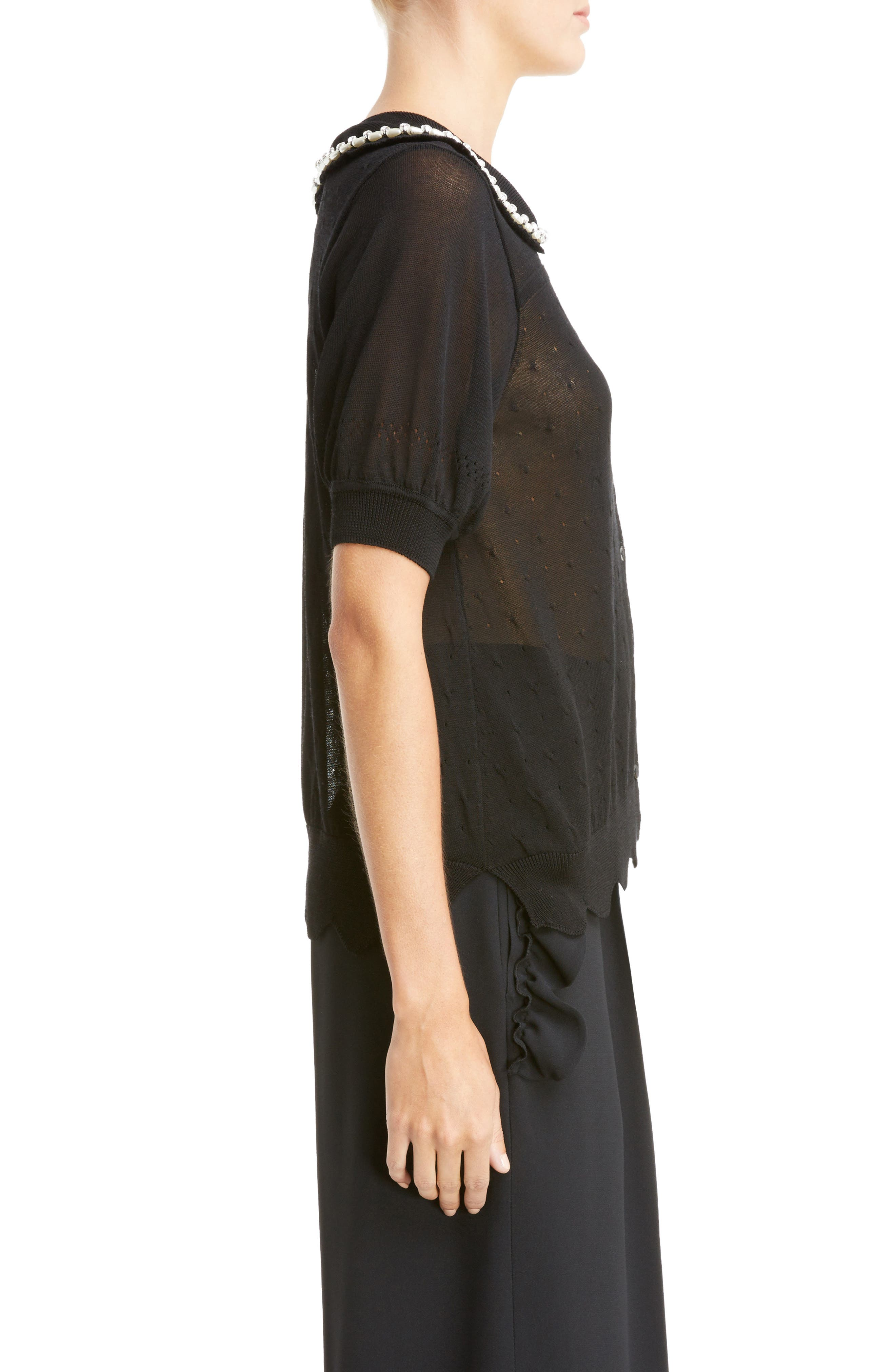 Beaded Lace Knit Cardigan,                             Alternate thumbnail 3, color,                             Black