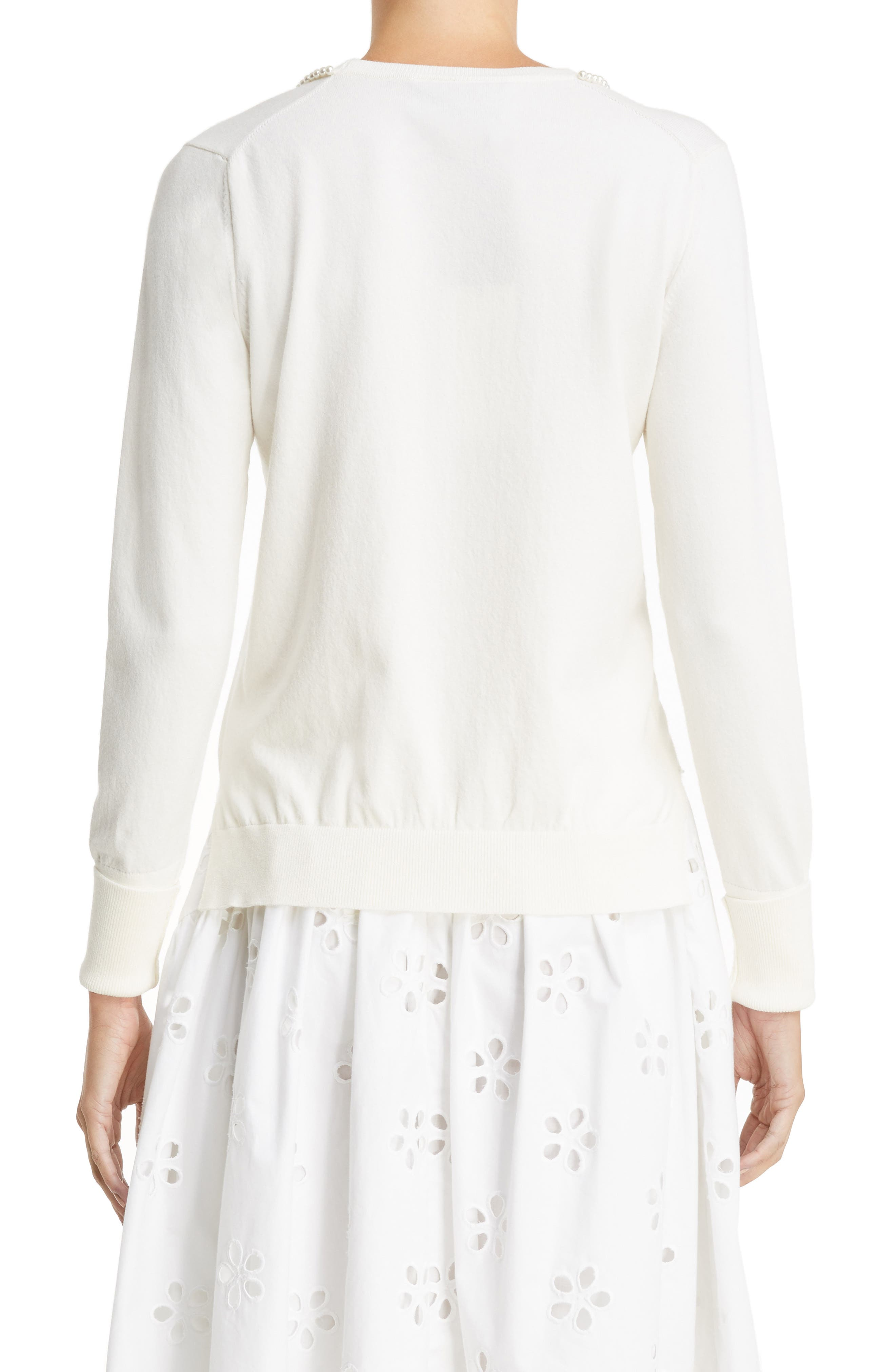 Imitation Pearl Embellished Sweater,                             Alternate thumbnail 2, color,                             Ivory Pearl