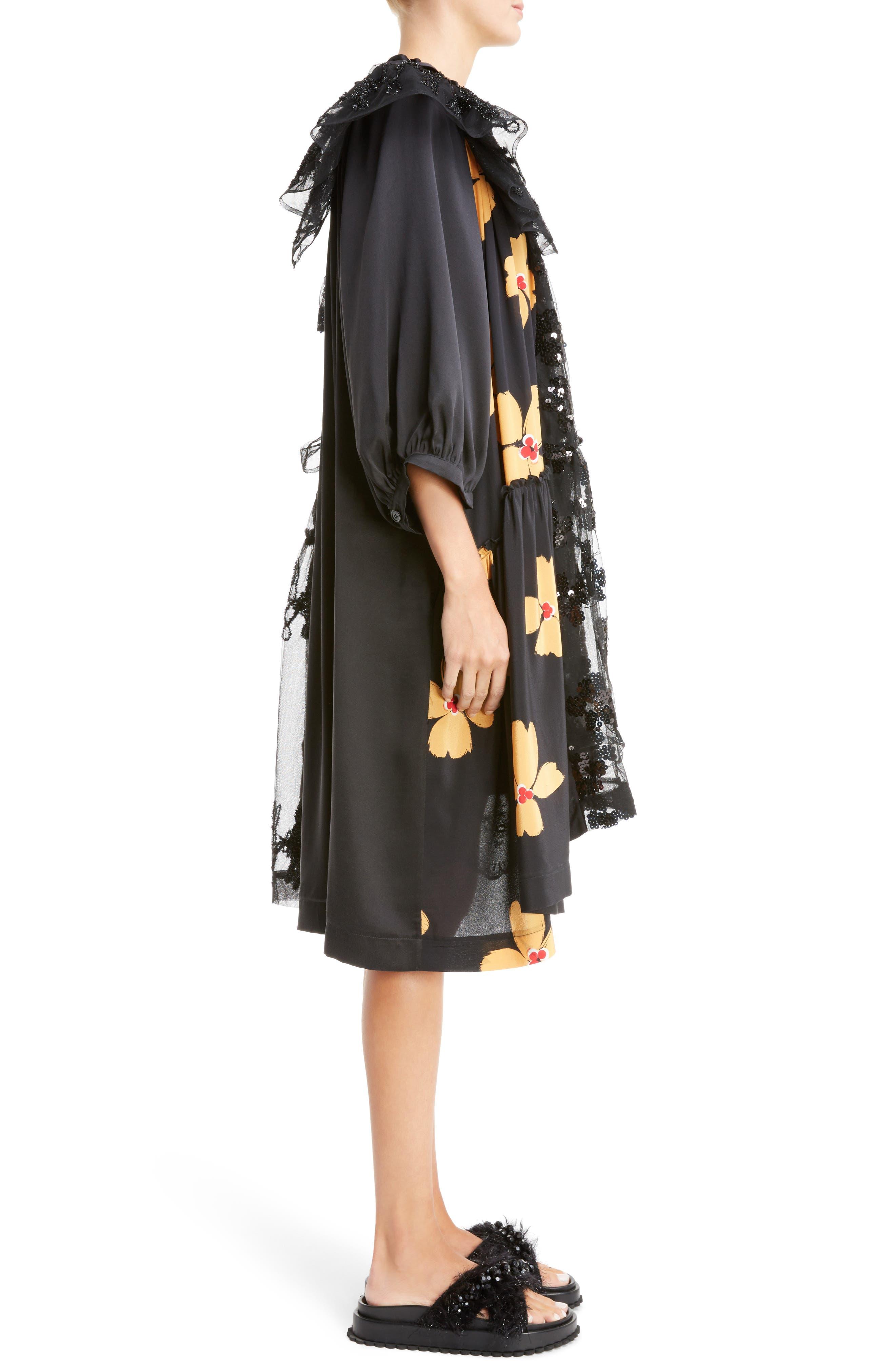 Frill Patchwork Dress,                             Alternate thumbnail 3, color,                             Black Multi