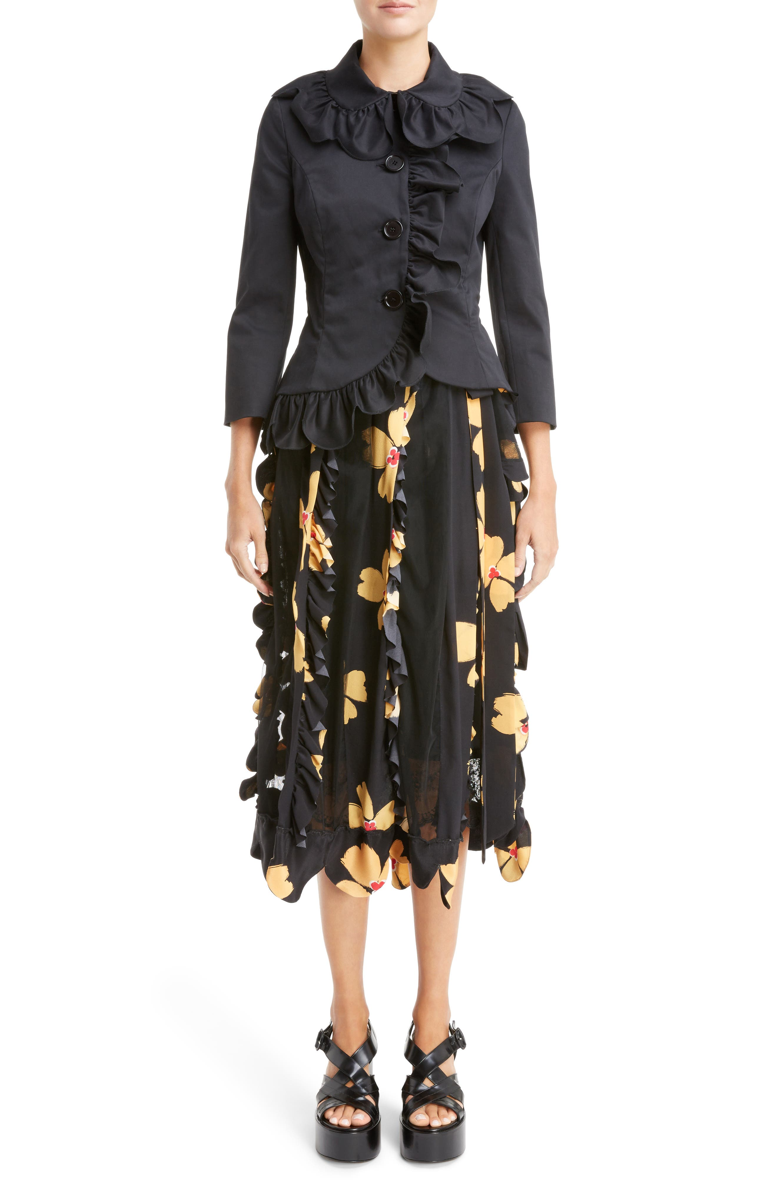 Alternate Image 6  - Simone Rocha Turbo Pleat Floral Silk Wrap Skirt