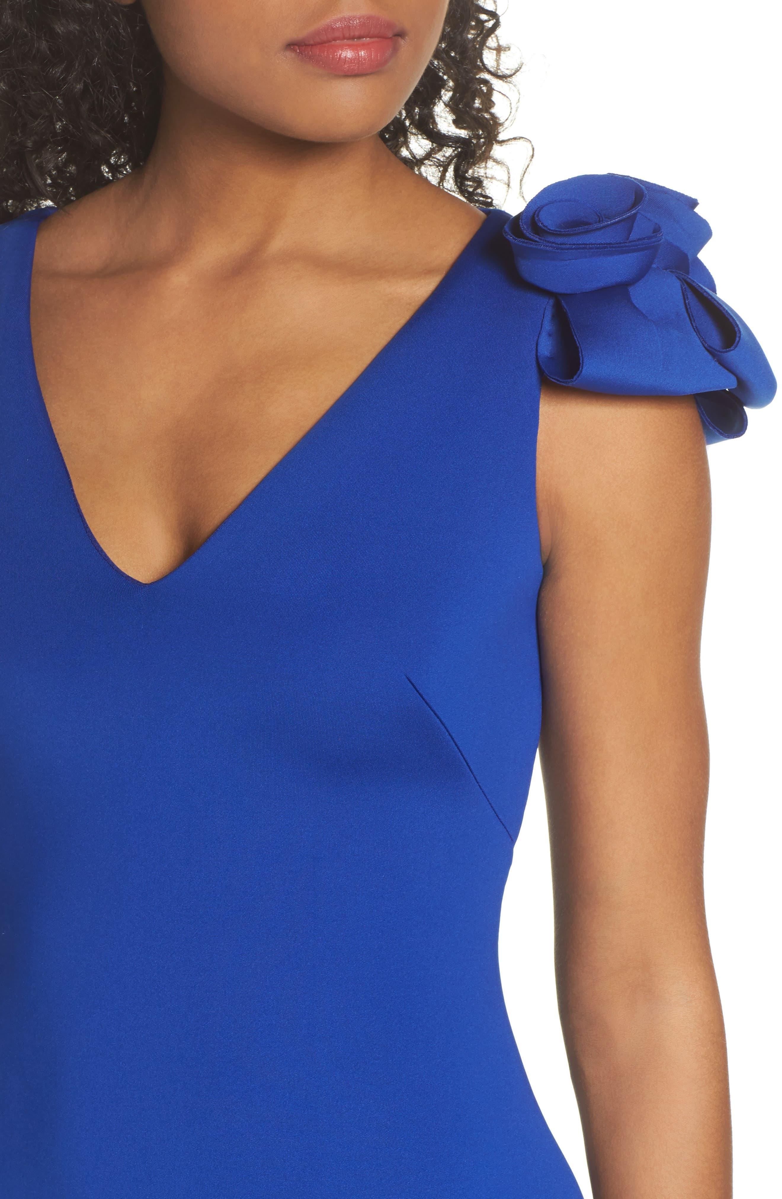 Flower Detail Sheath Dress,                             Alternate thumbnail 4, color,                             Cobalt