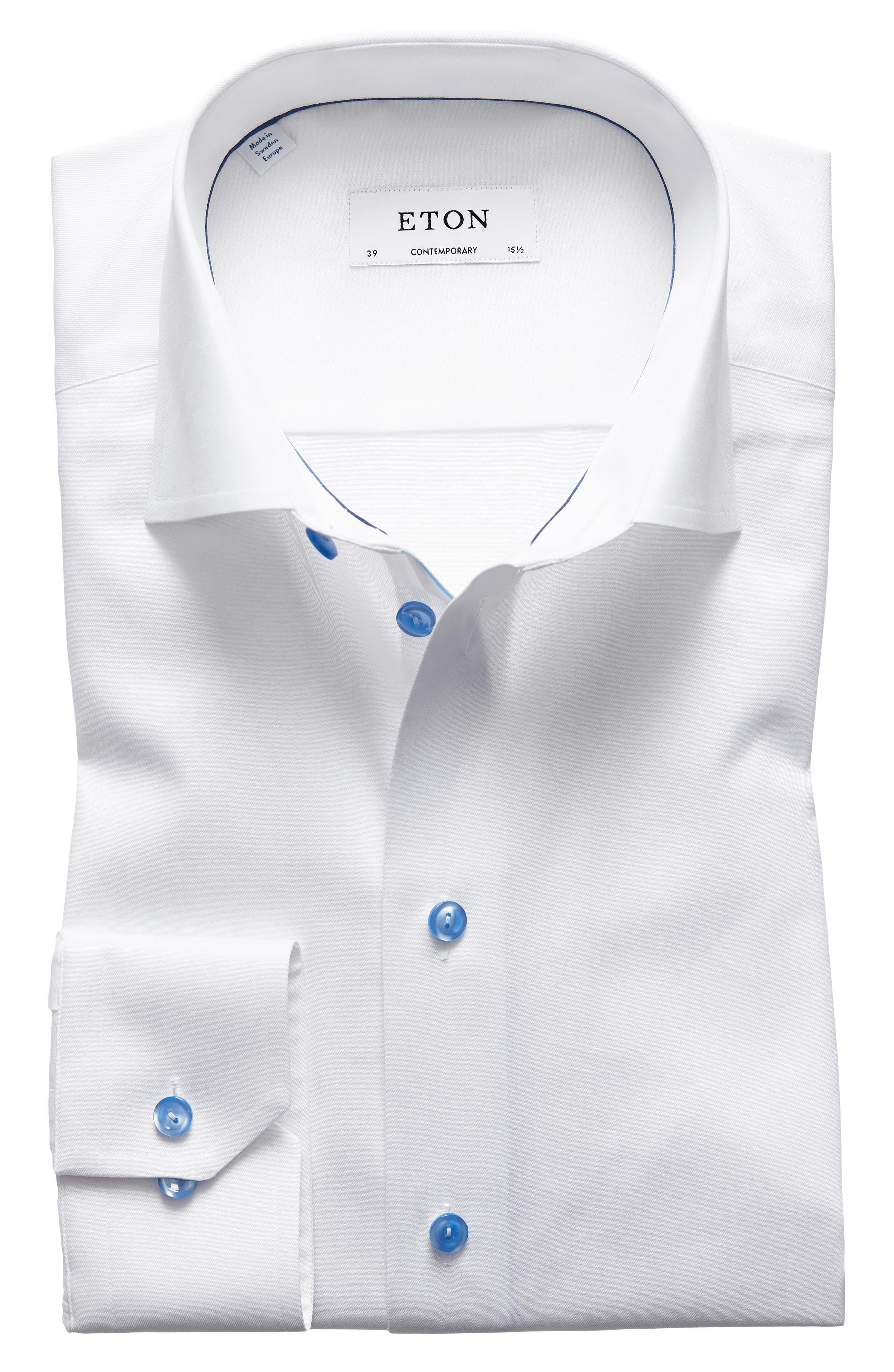 Main Image - Eton Contemporary Fit Twill Dress Shirt