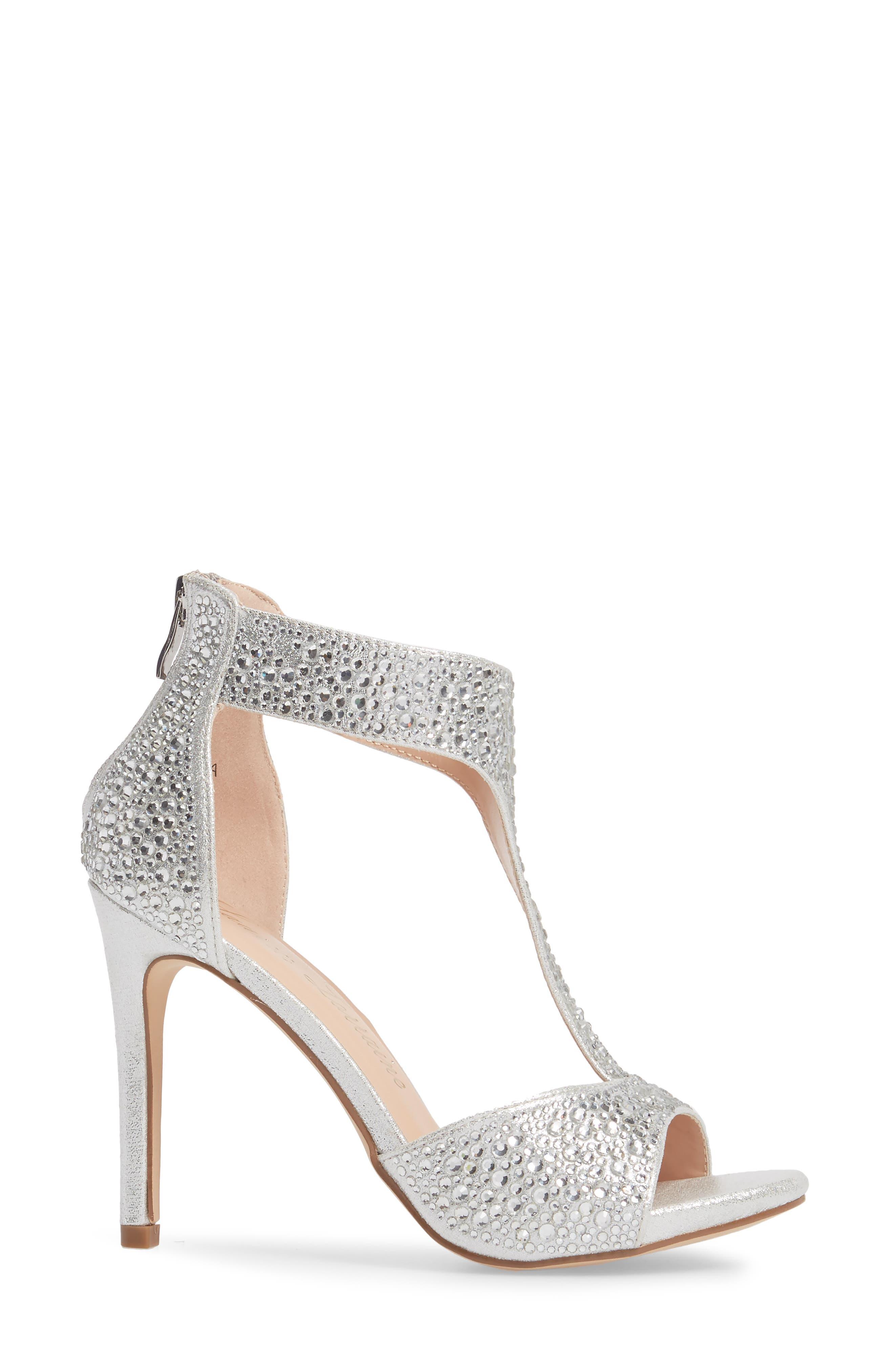 Ina Crystal Embellished Sandal,                             Alternate thumbnail 3, color,                             Silver