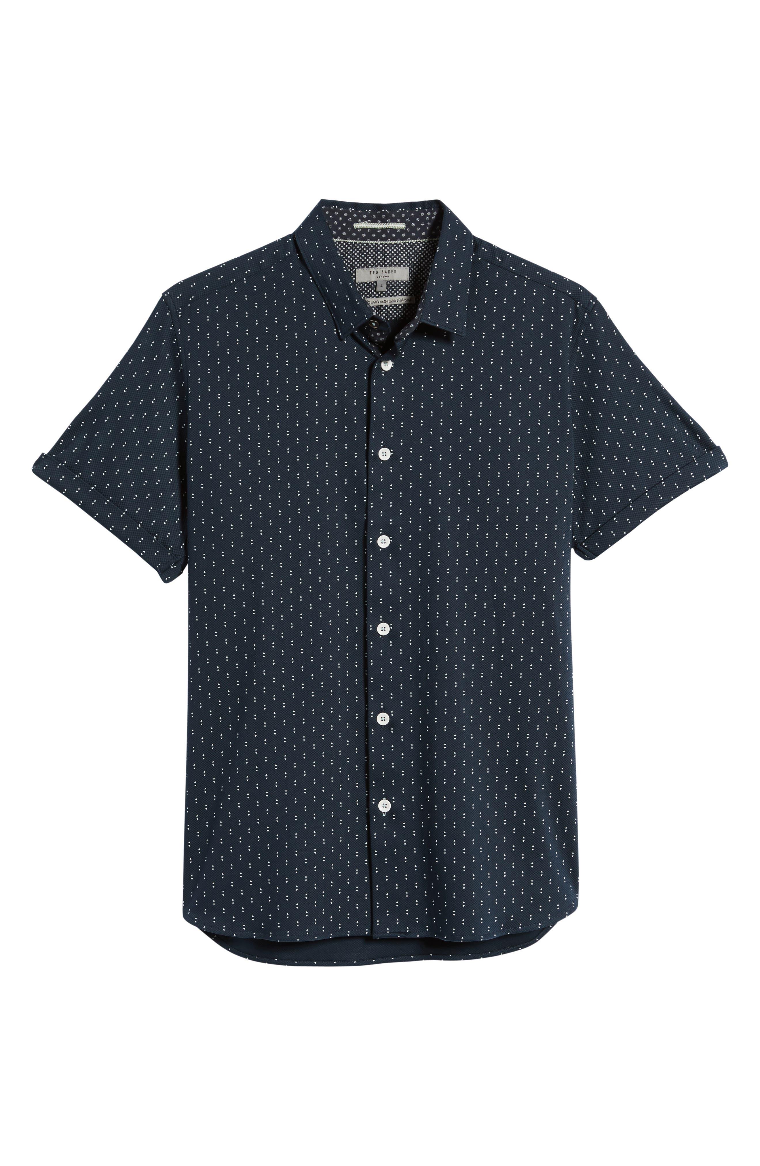 Franko Print Sport Shirt,                             Alternate thumbnail 6, color,                             Navy