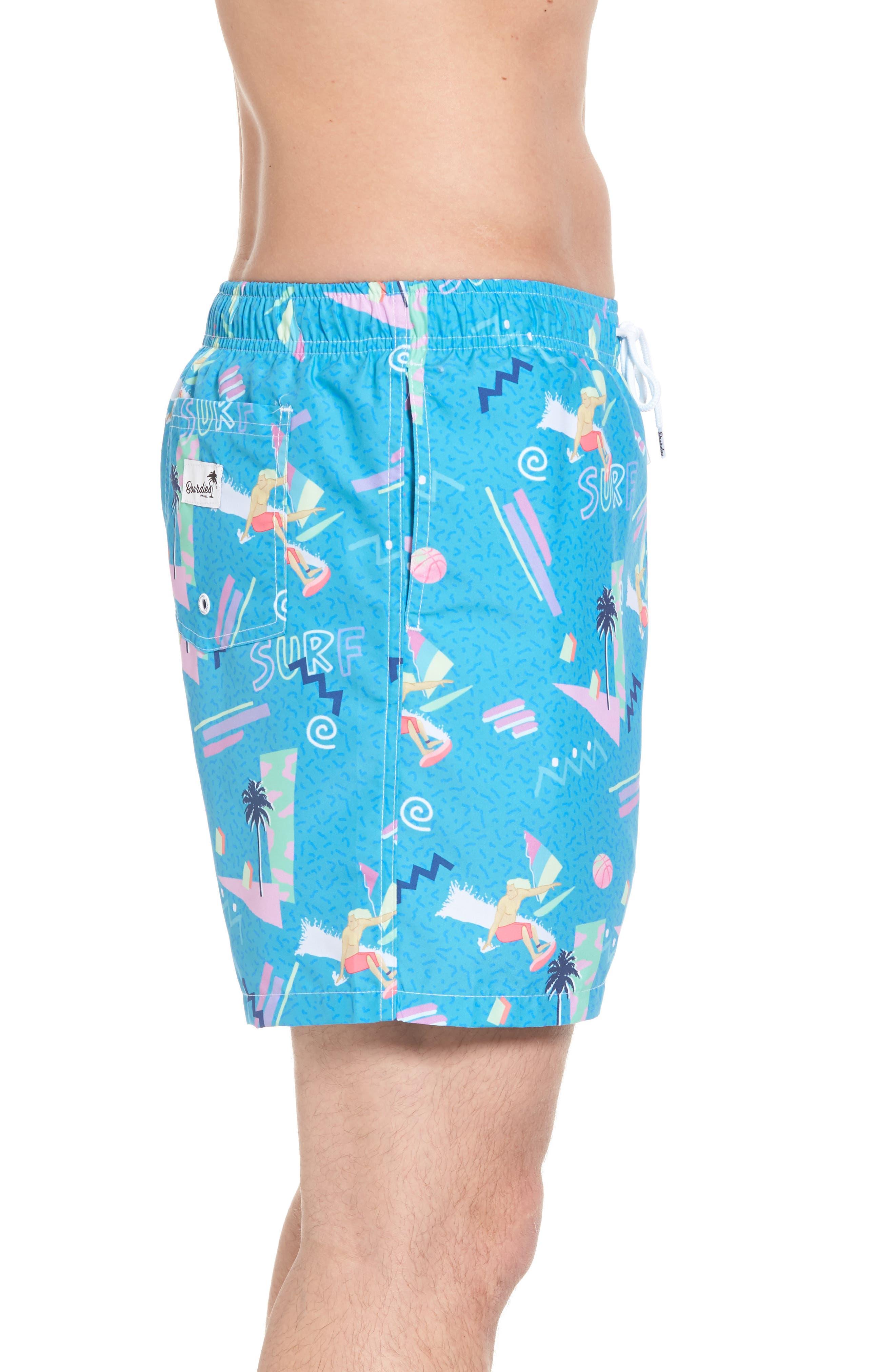 x Yoko Honda Print Swim Shorts,                             Alternate thumbnail 3, color,                             Blue