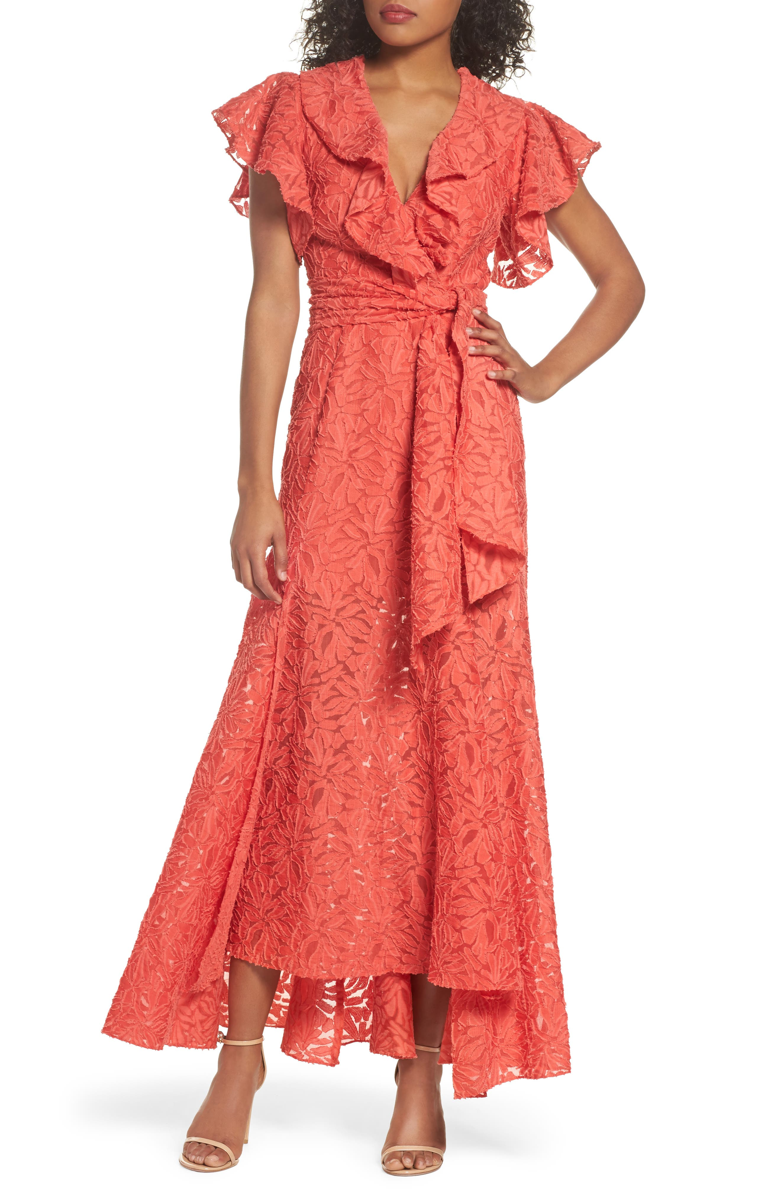 More To Give Ruffle Lace Gown,                         Main,                         color, Melon
