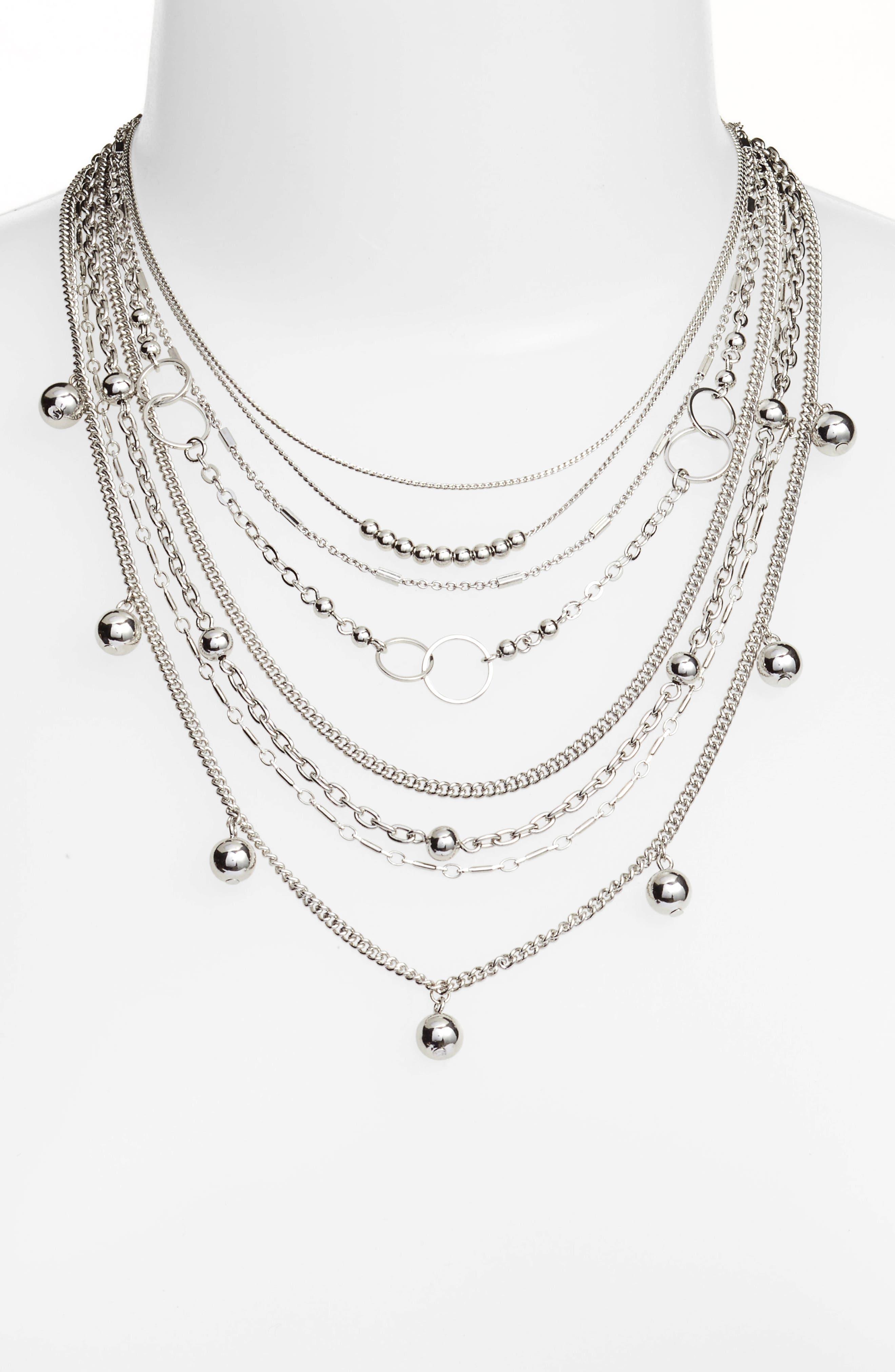 Multistrand Necklace,                             Main thumbnail 1, color,                             Rhodium
