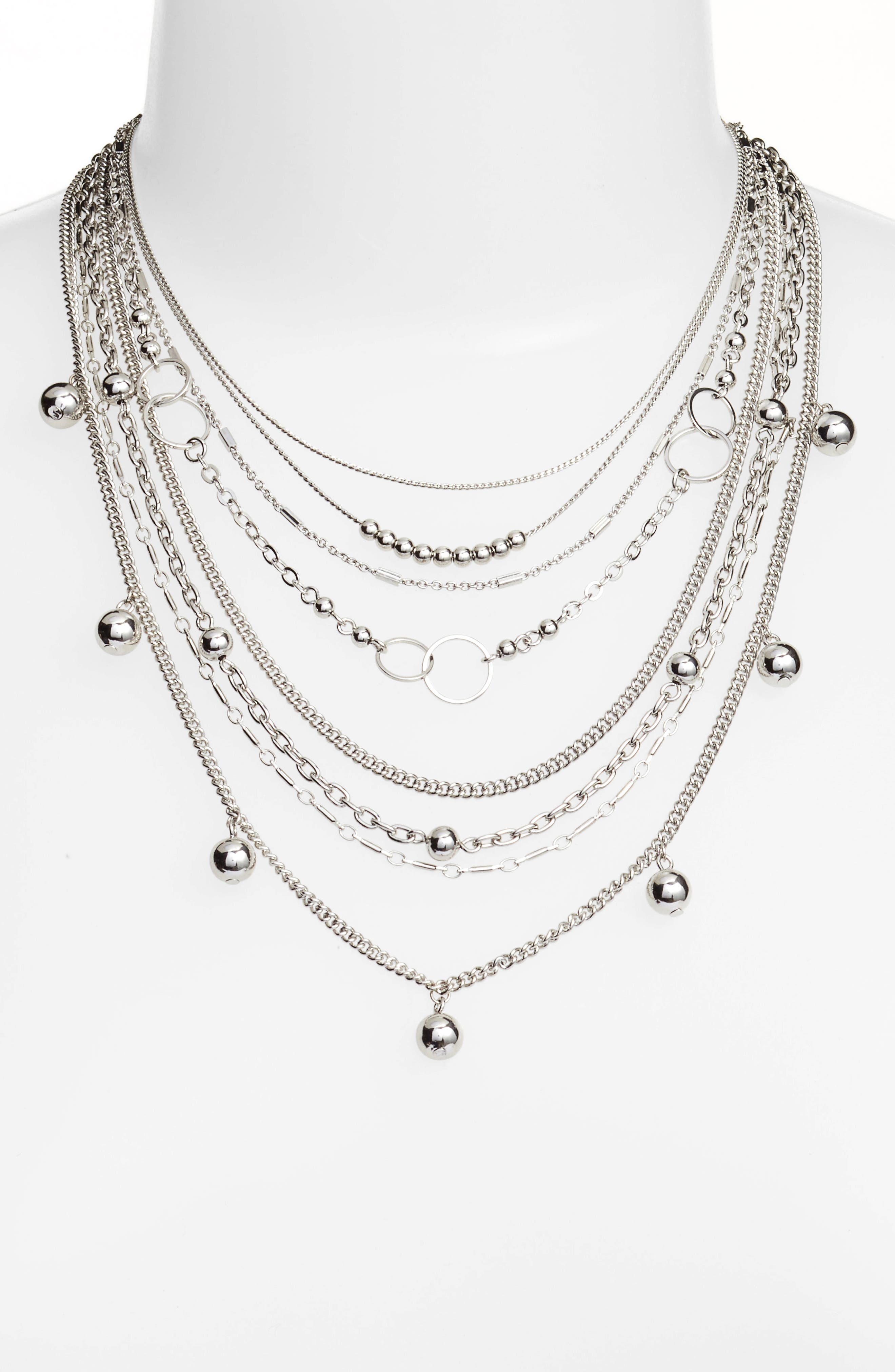 Multistrand Necklace,                         Main,                         color, Rhodium