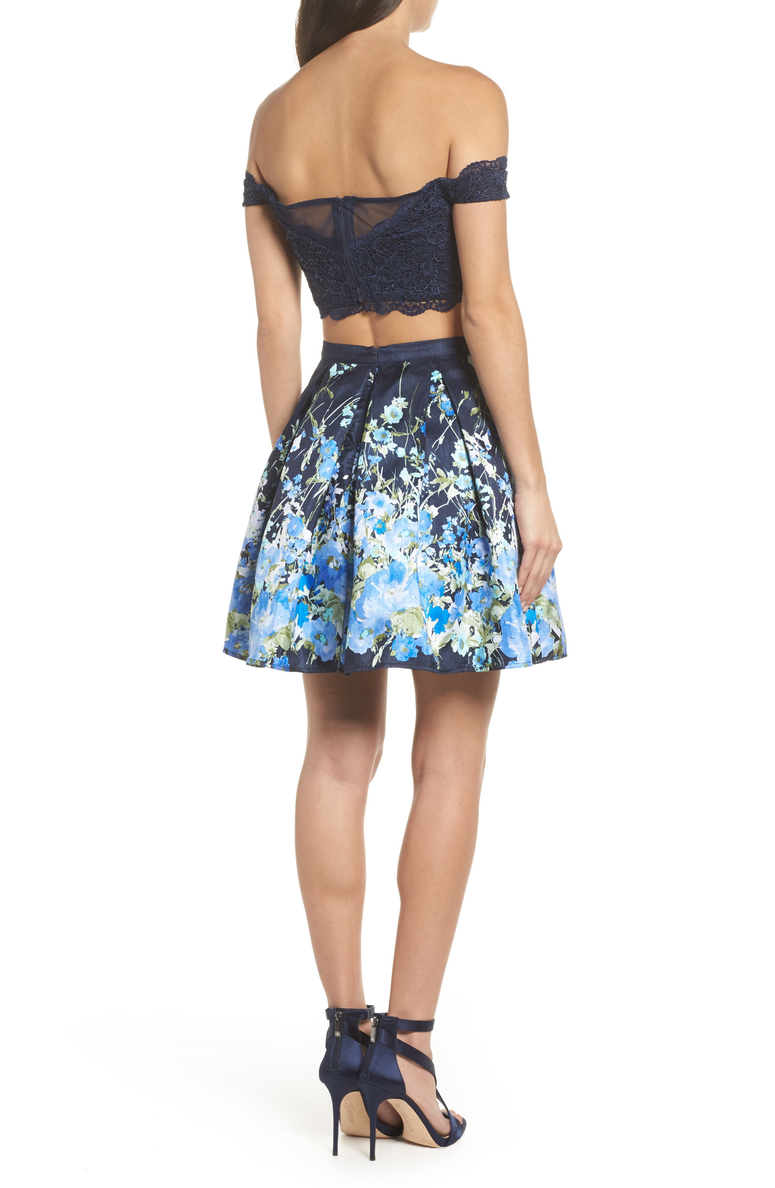 Off the Shoulder Two-Piece Dress,                             Alternate thumbnail 2, color,                             Navy/ Green