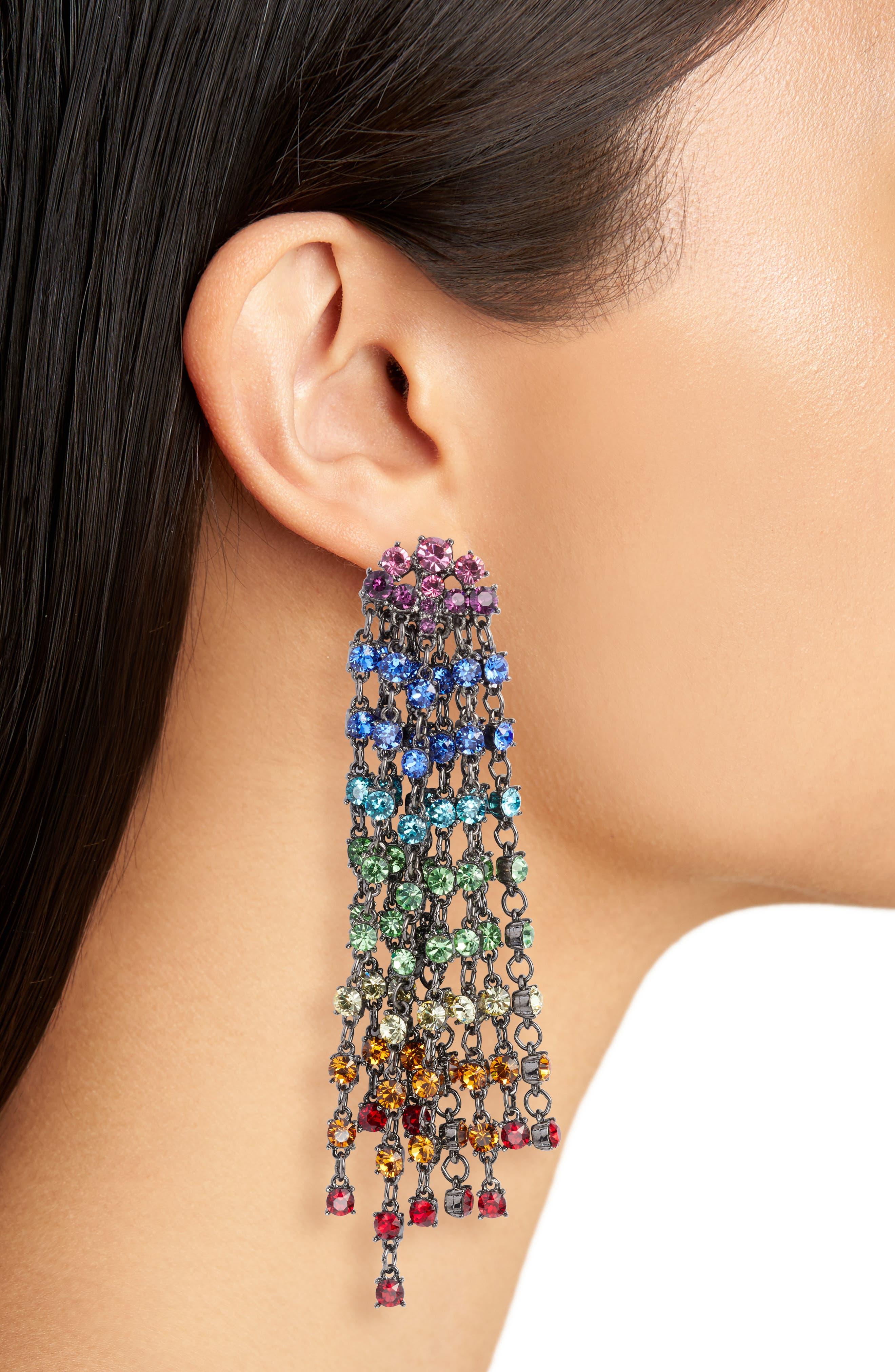 Alternate Image 2  - Oscar de la Renta Crystal Cascade Waterfall Drop Earrings
