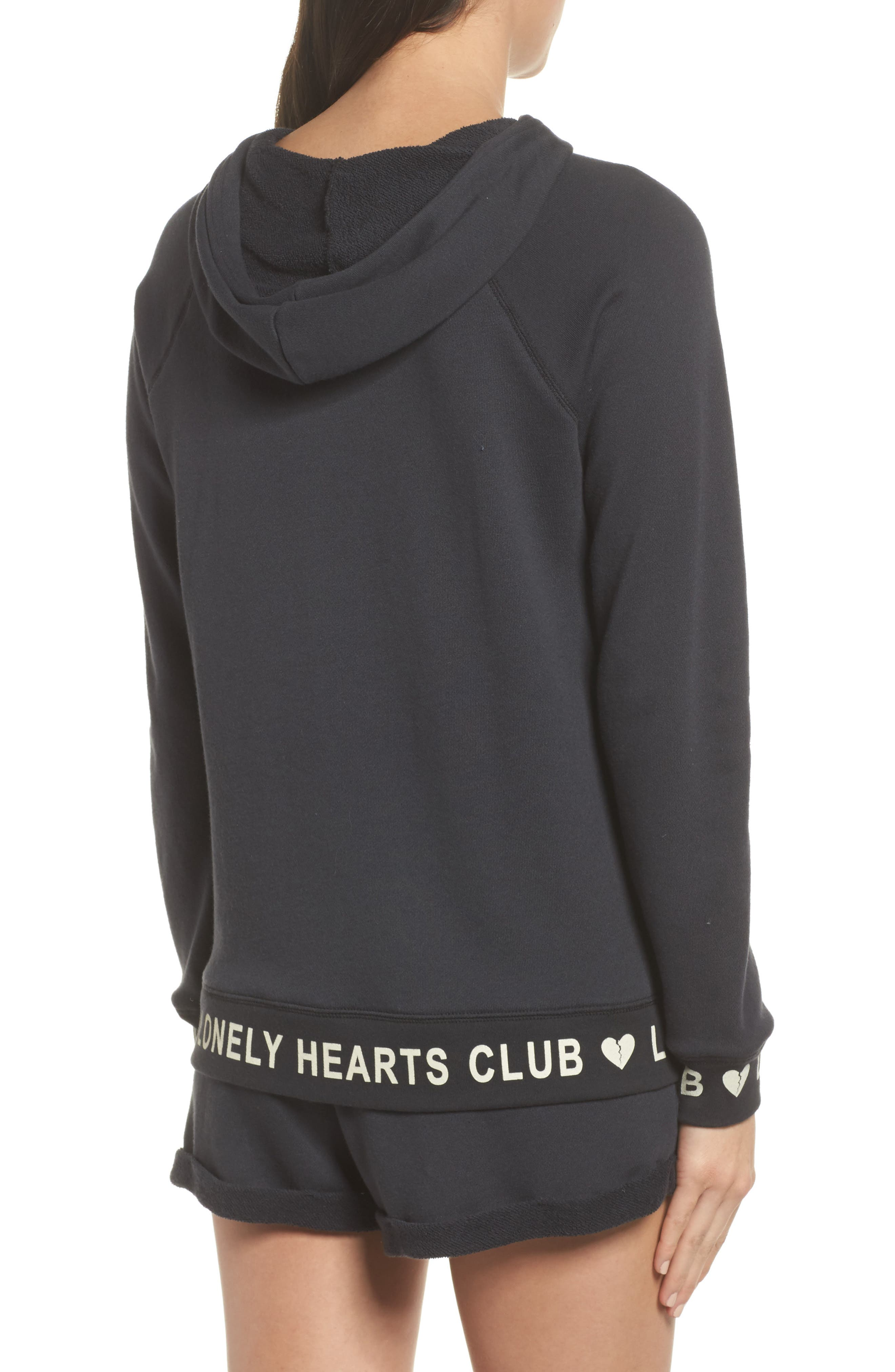 Lonely Hearts Club Hoodie,                             Alternate thumbnail 2, color,                             Jet Black