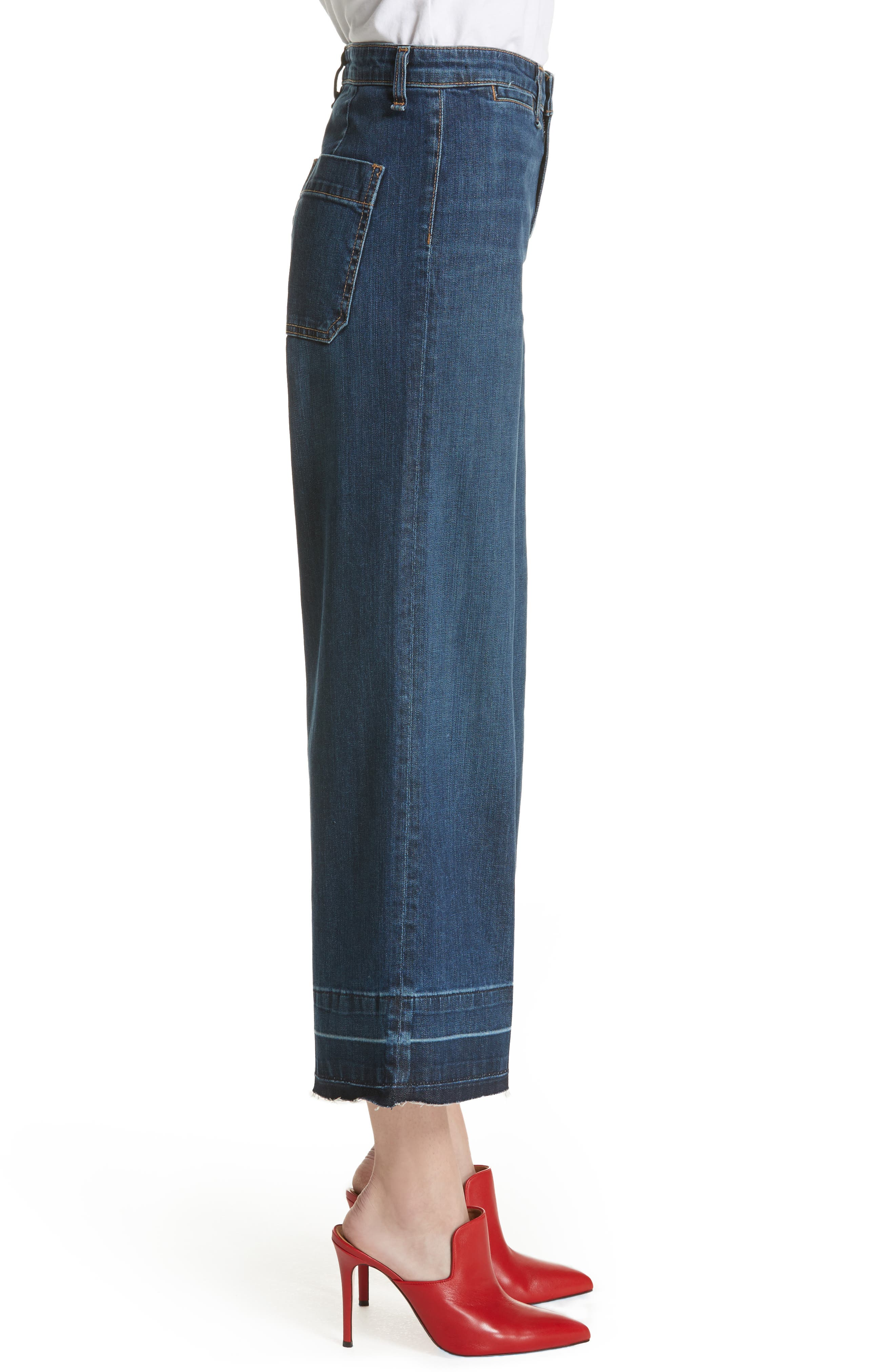 Ali High Waist Gaucho Jeans,                             Alternate thumbnail 3, color,                             Vintage Wash