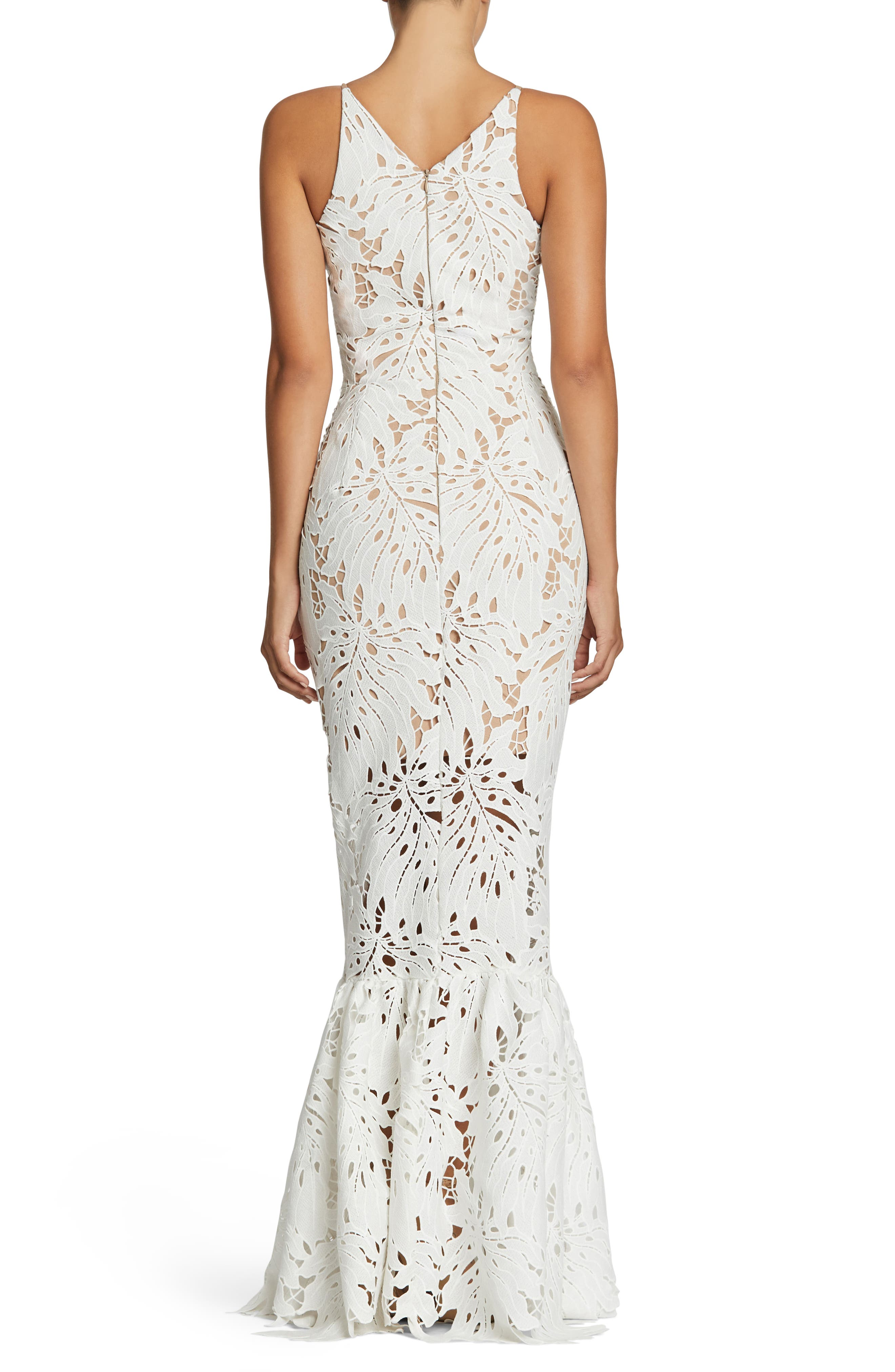 Brooke Crochet Palm Mermaid Gown,                             Alternate thumbnail 2, color,                             White