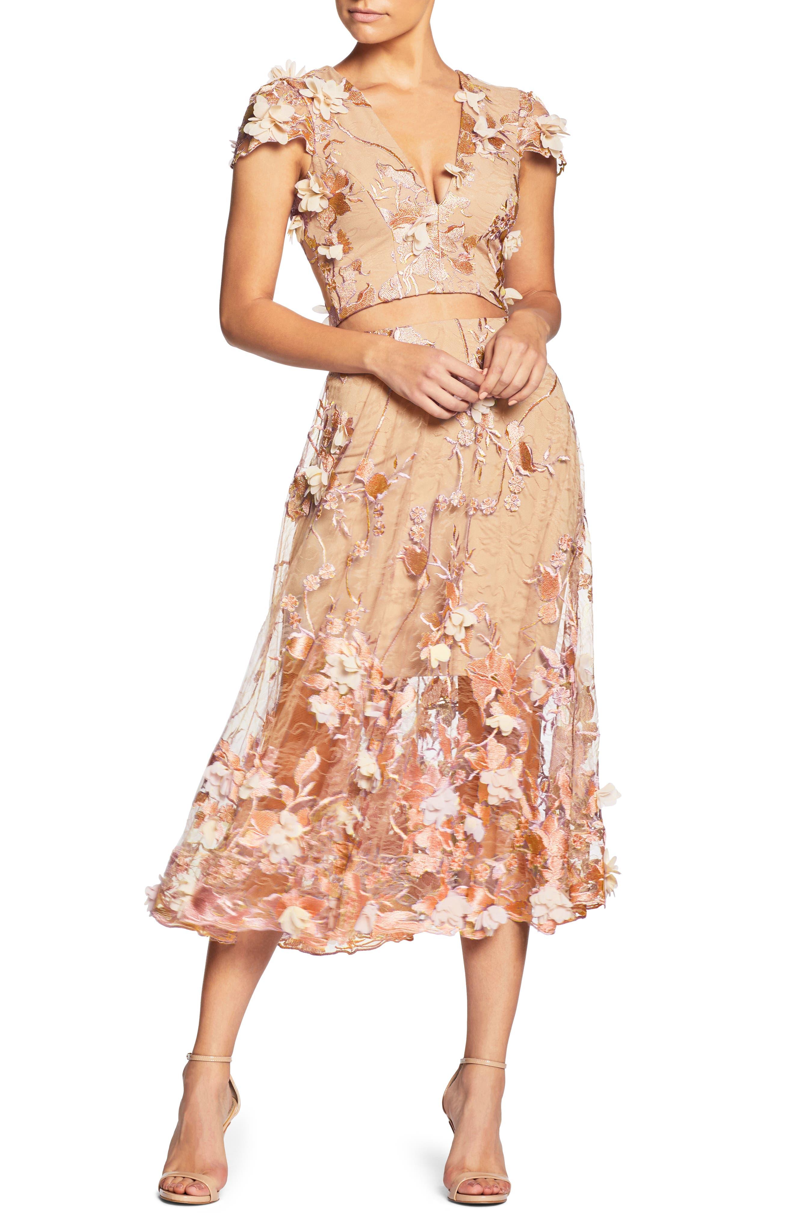 Juliana 3D Lace Two-Piece Dress,                         Main,                         color, Peach