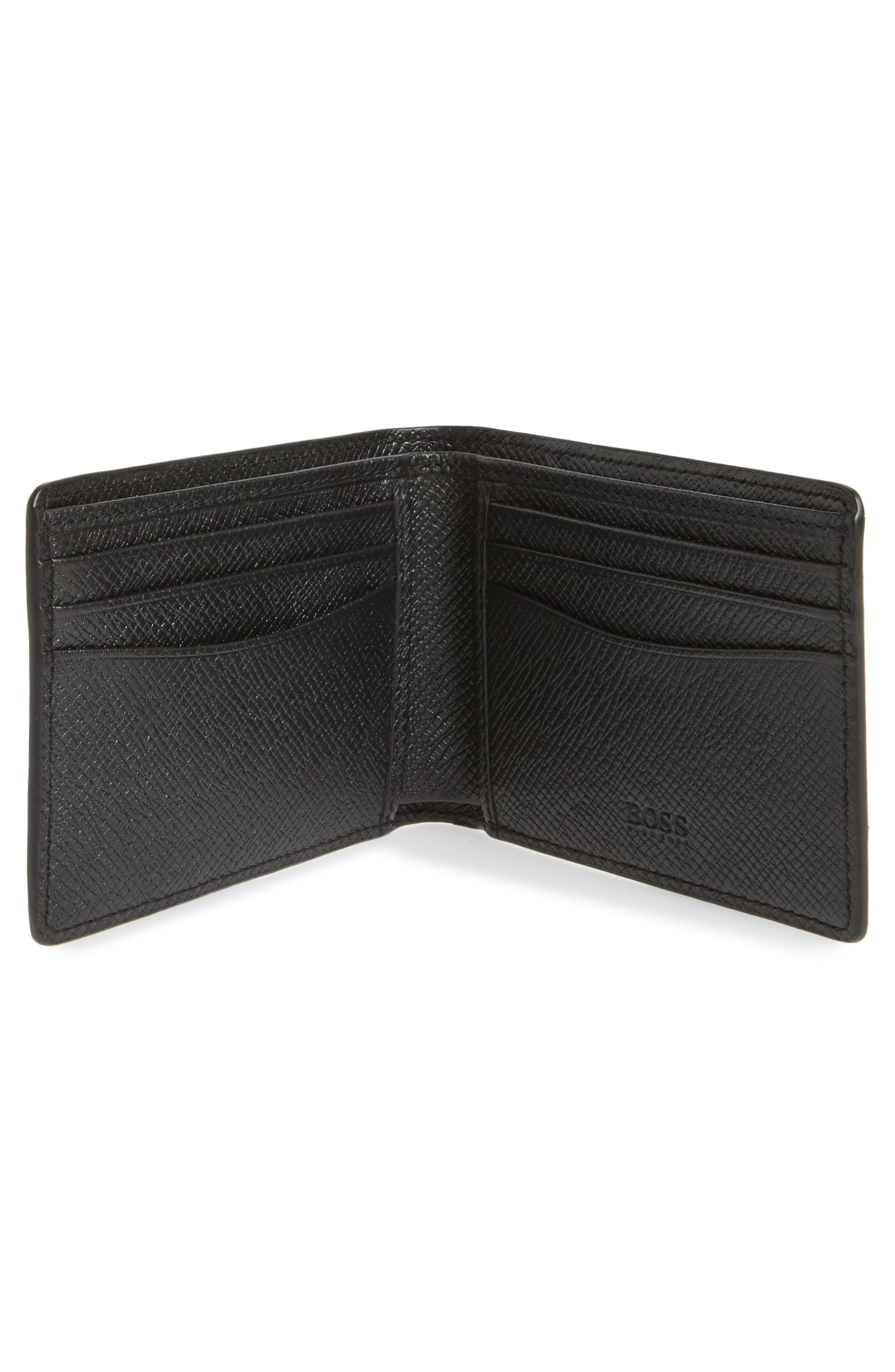 Signature Leather Wallet,                             Alternate thumbnail 2, color,                             Black Watch