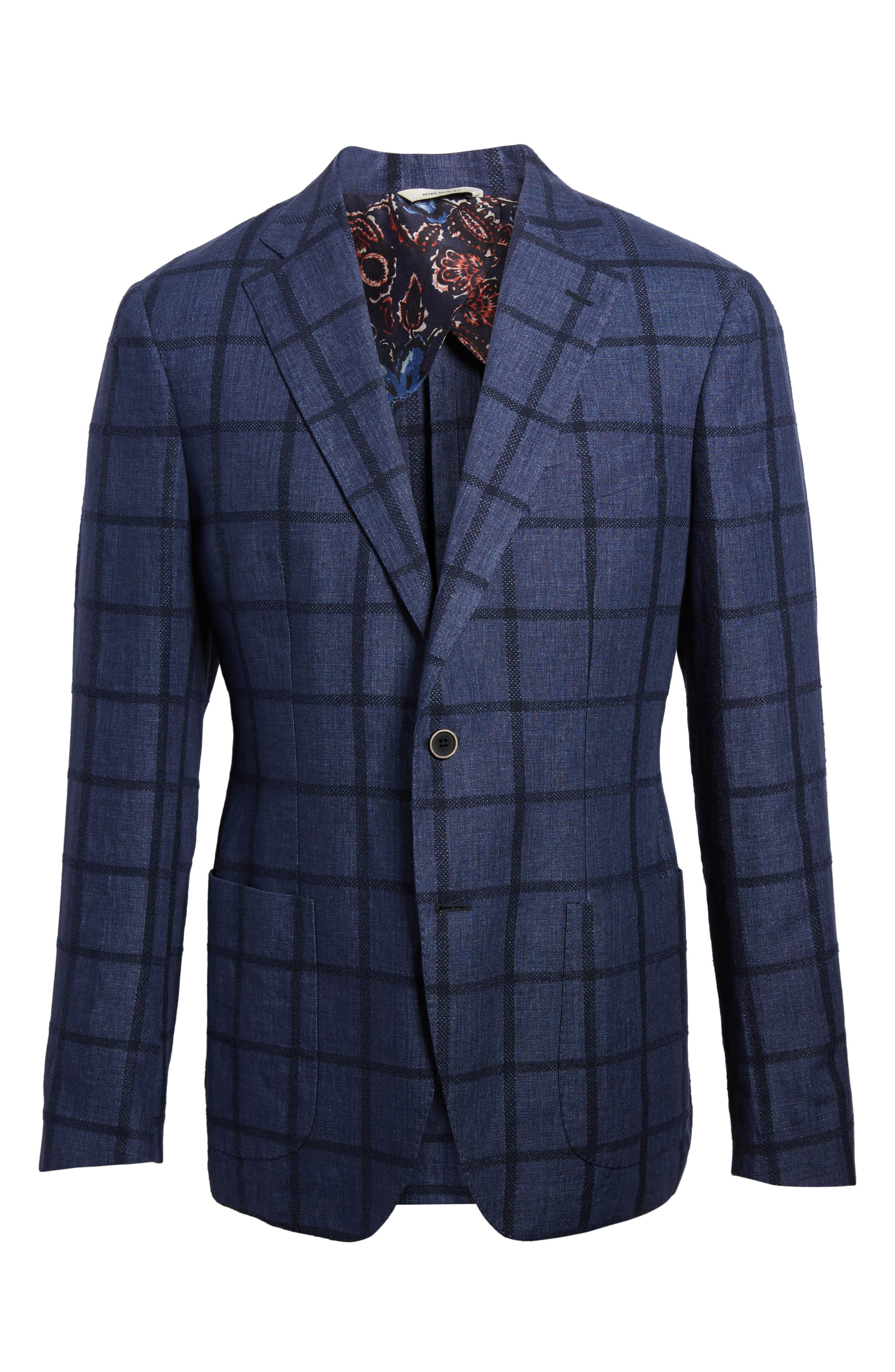 Trim Fit Windowpane Linen Blend Sport Coat,                             Alternate thumbnail 6, color,                             Navy