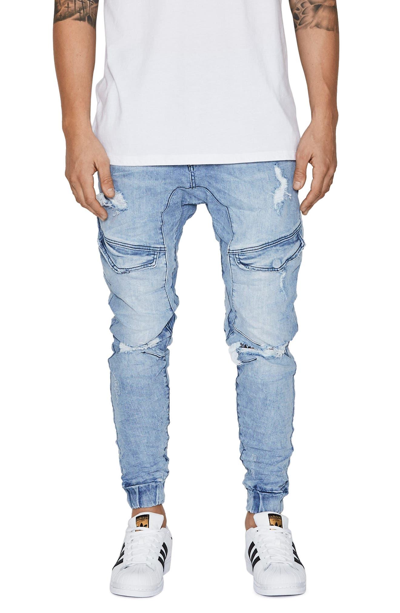 Flight Skinny Denim Jogger Pants,                         Main,                         color, Broken Blue