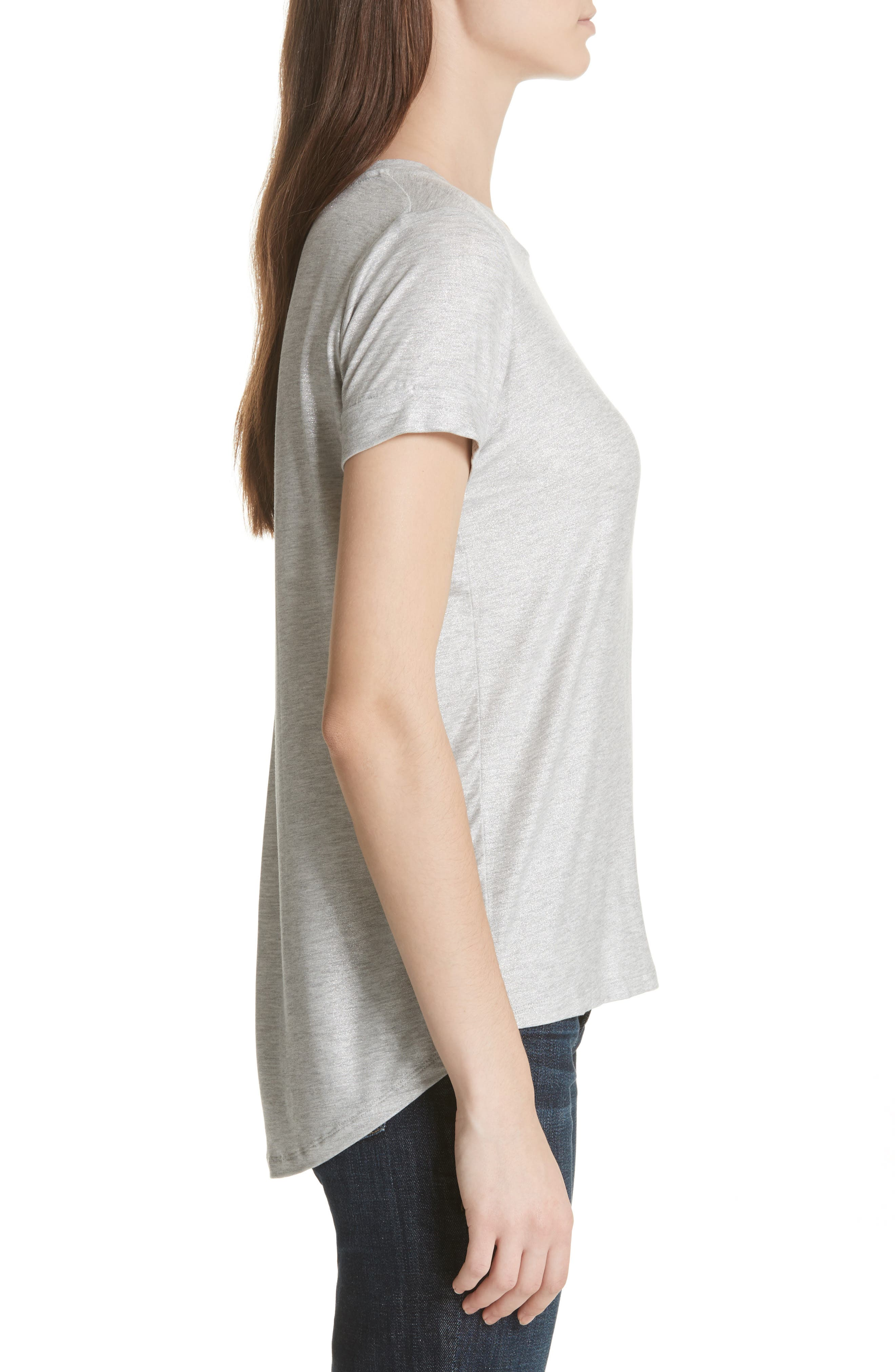 Metallic Short Sleeve Swing Tee,                             Alternate thumbnail 3, color,                             Silver Gris Chine