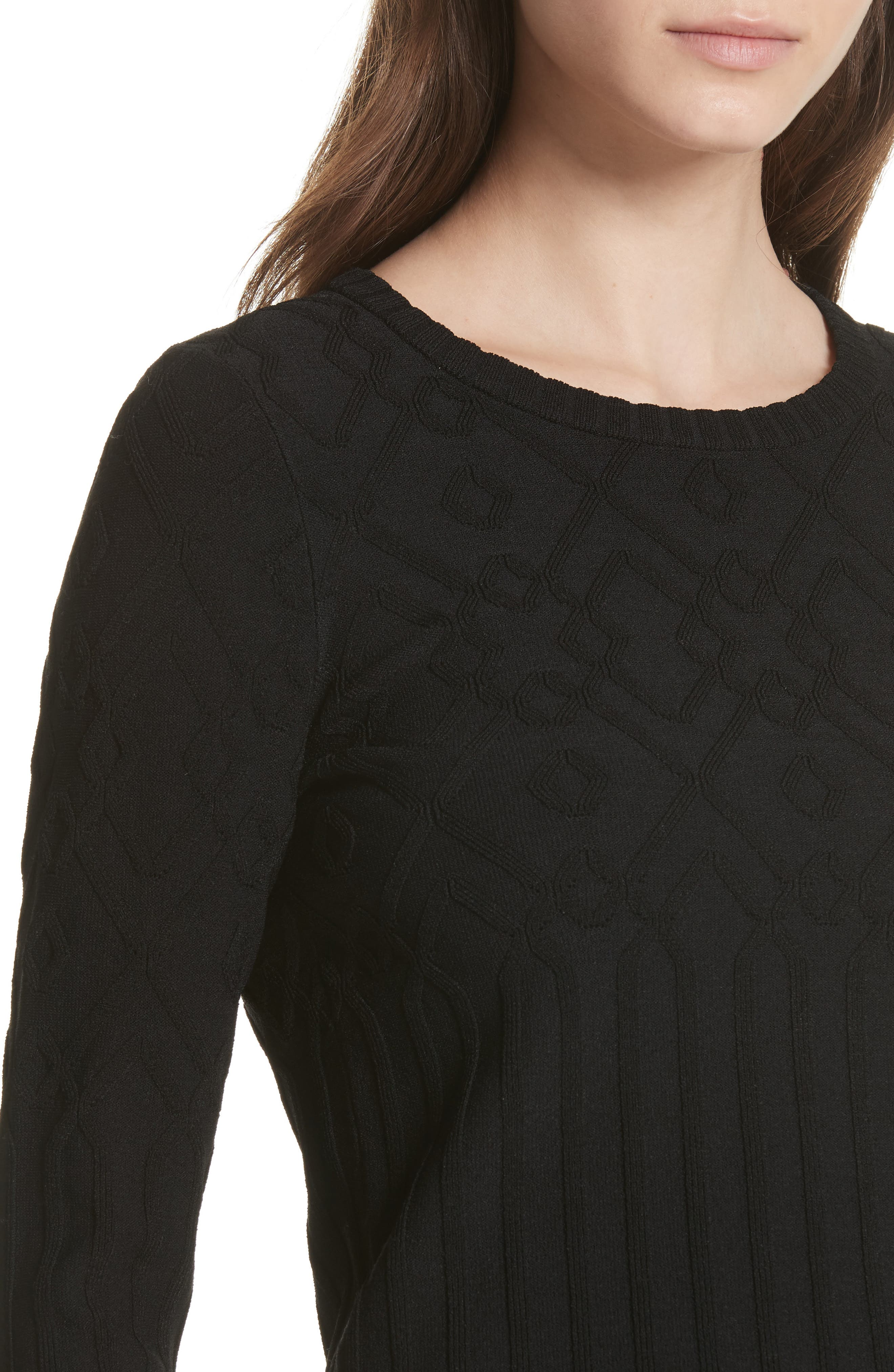 Textured Mosaic Pullover,                             Alternate thumbnail 4, color,                             Black