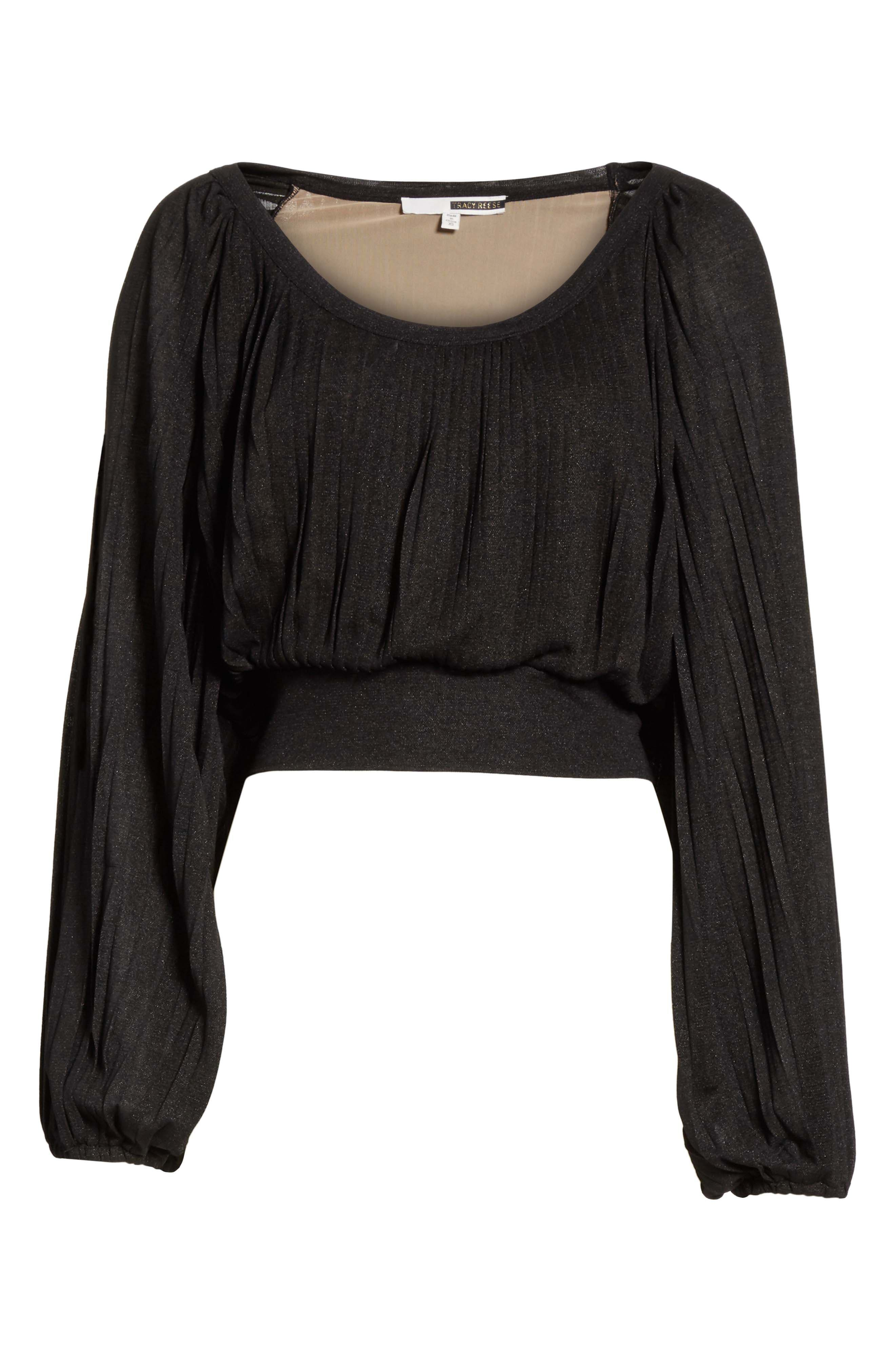 Slit Sleeve Peasant Top,                             Alternate thumbnail 6, color,                             Black