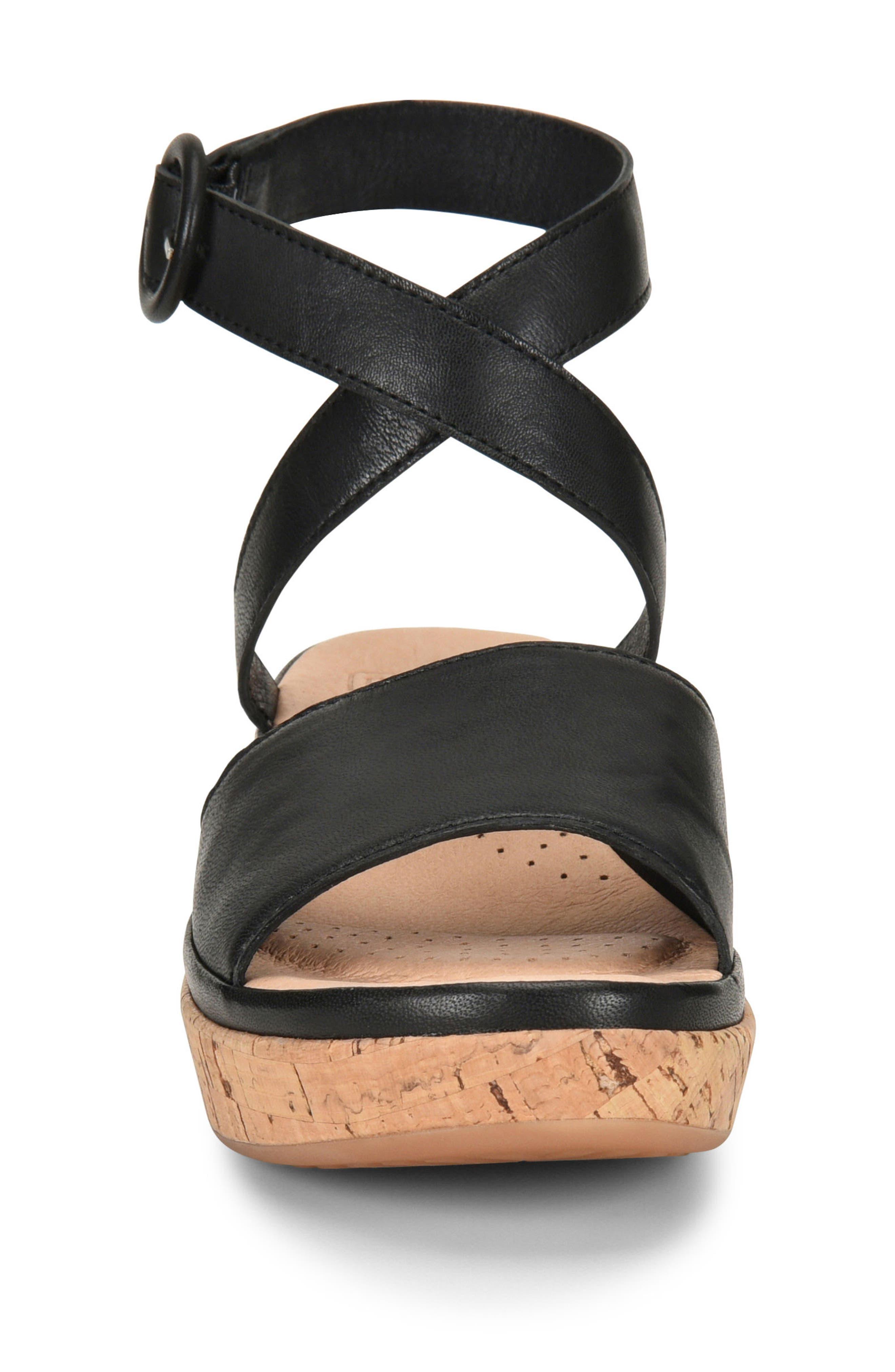 Dreamy Platform Wedge Sandal,                             Alternate thumbnail 4, color,                             Black Leather
