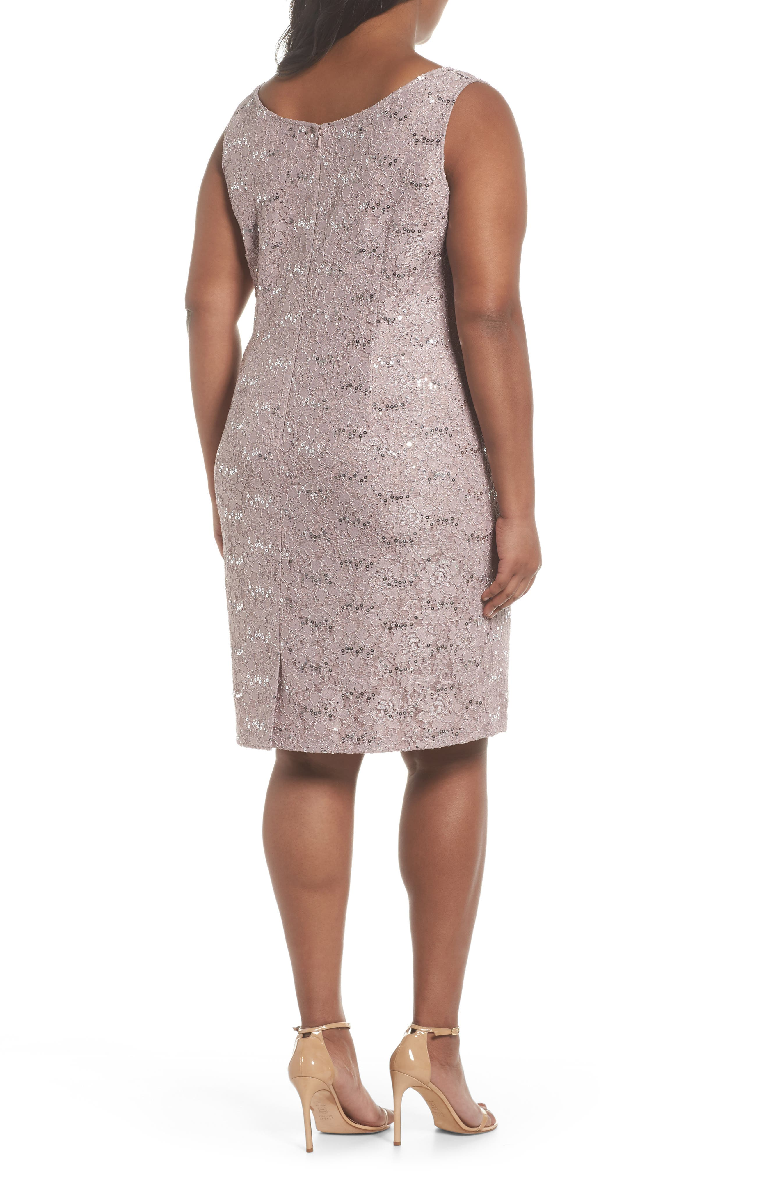 Sequin Lace Sheath Dress with Jacket,                             Alternate thumbnail 2, color,                             Pure Rose