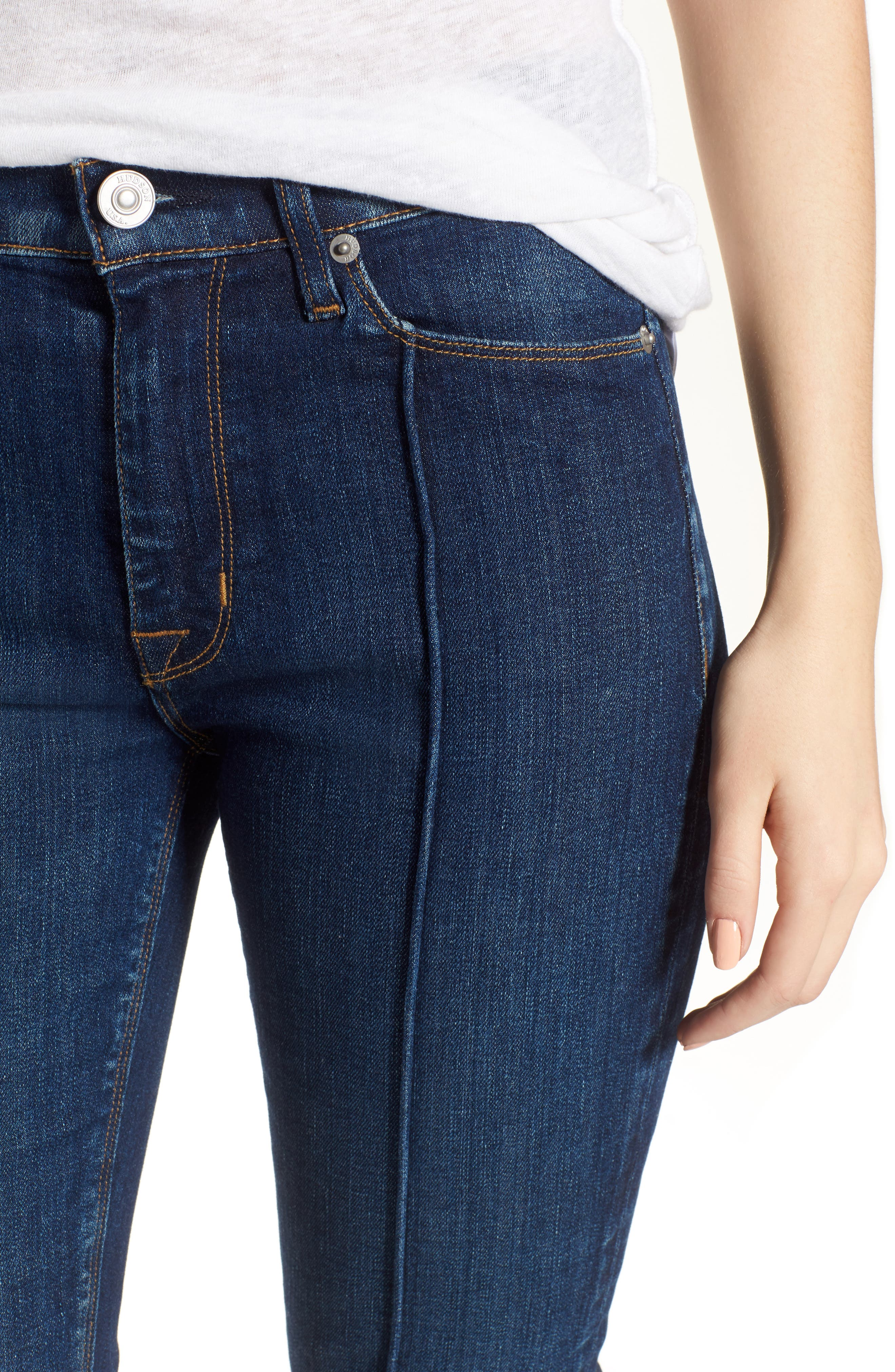Alternate Image 4  - Hudson Jeans Barbara Pintuck Super Skinny Jeans (Electra)