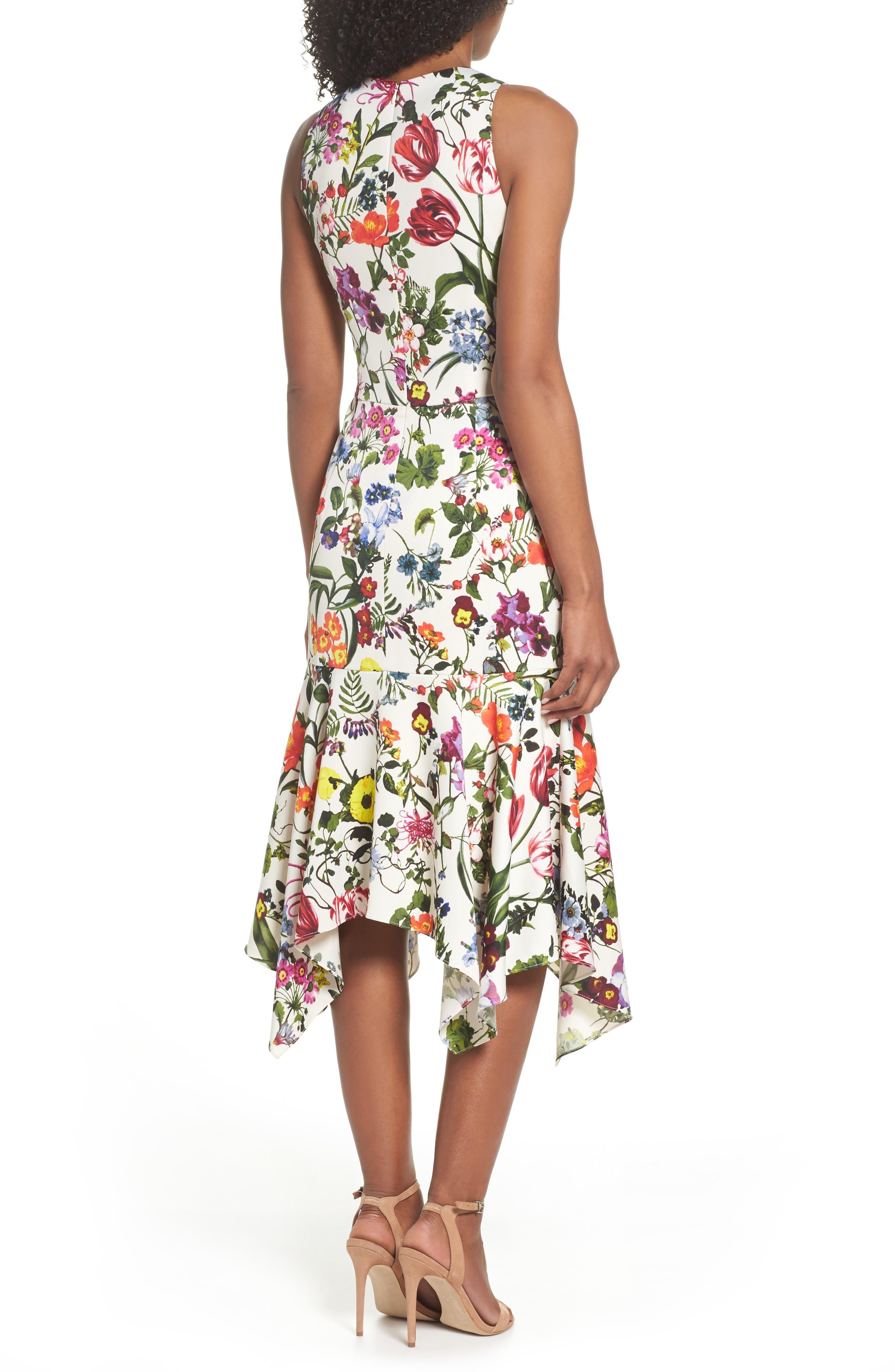 Botanical Print Charmeuse Midi Dress,                             Alternate thumbnail 2, color,                             Soft White/ Multi