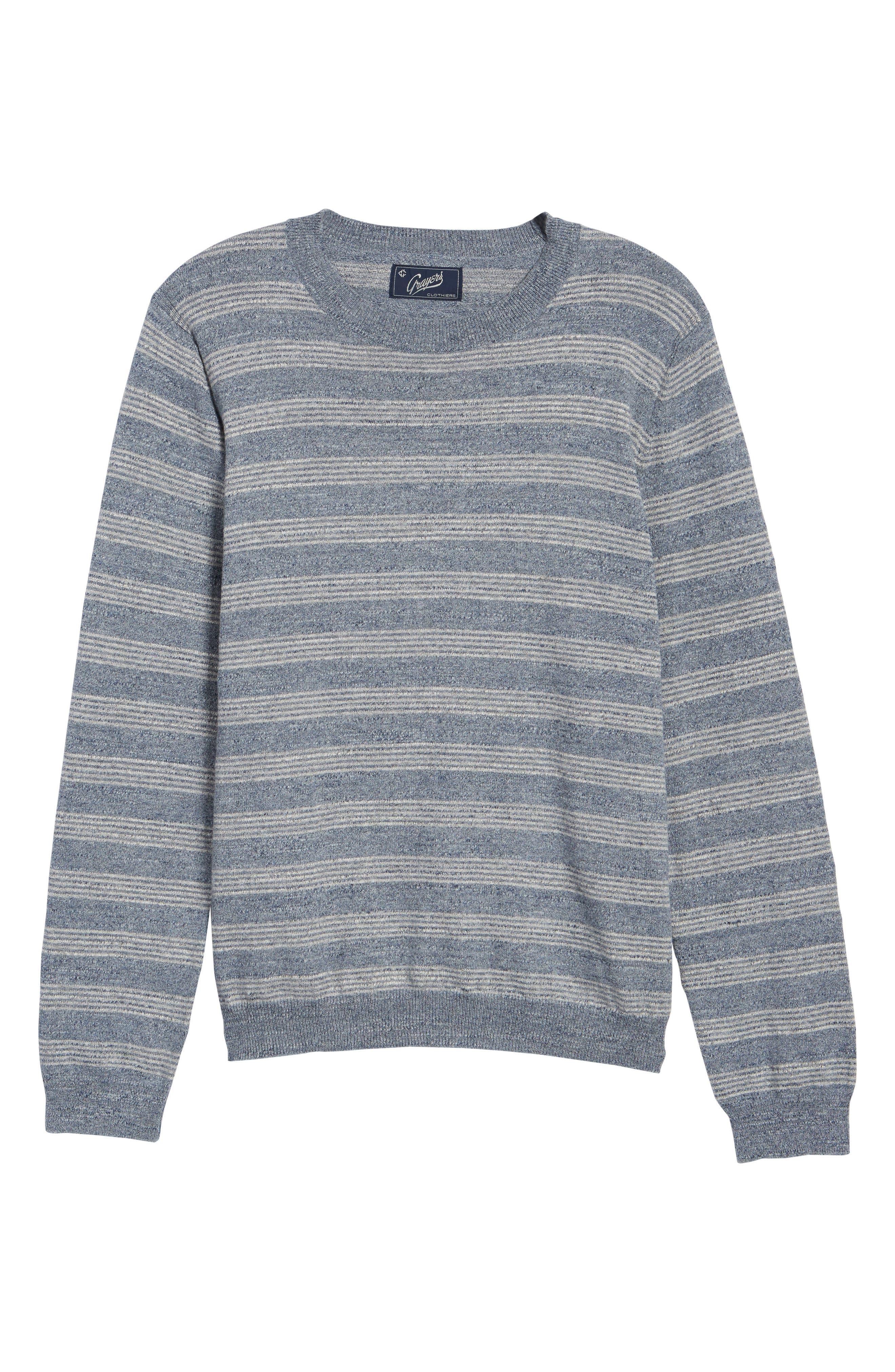 Stripe Cotton Sweater,                             Alternate thumbnail 6, color,                             Blue Grey Heather Stripe