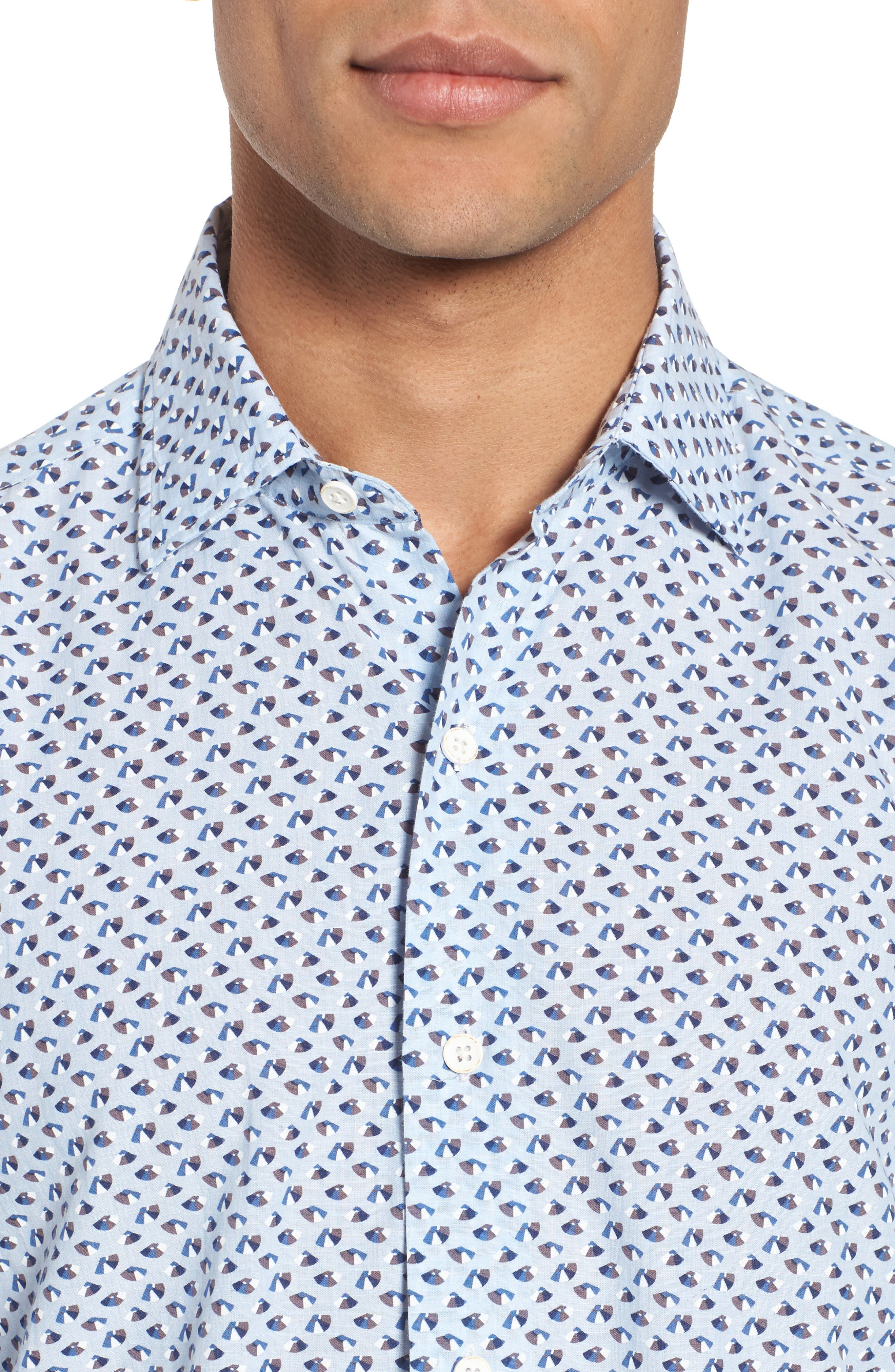 Slim Fit Print Cotton & Linen Sport Shirt,                             Alternate thumbnail 4, color,                             Blue