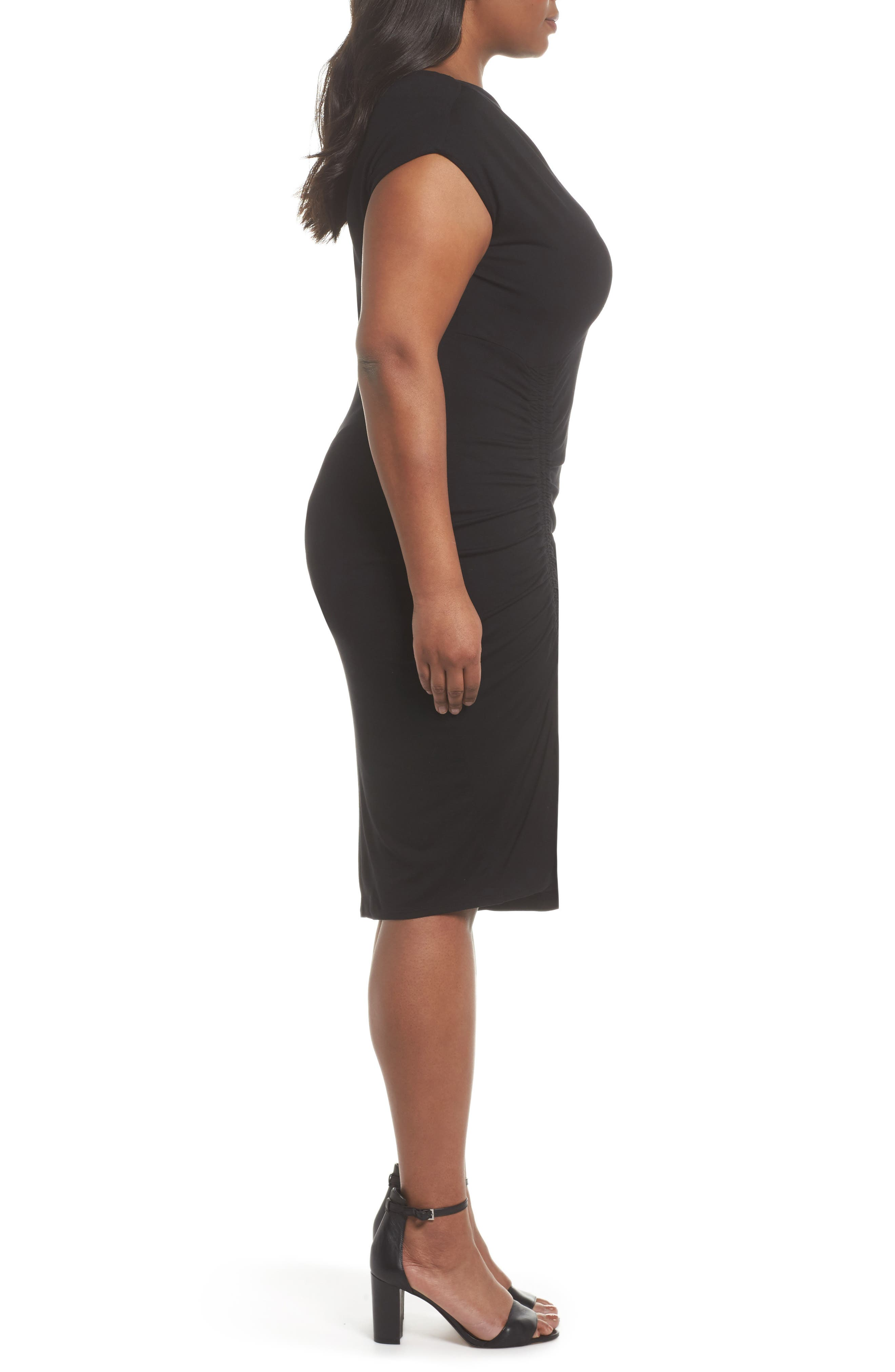 Side Ruched Sheath Dress,                             Alternate thumbnail 2, color,                             Rich Black