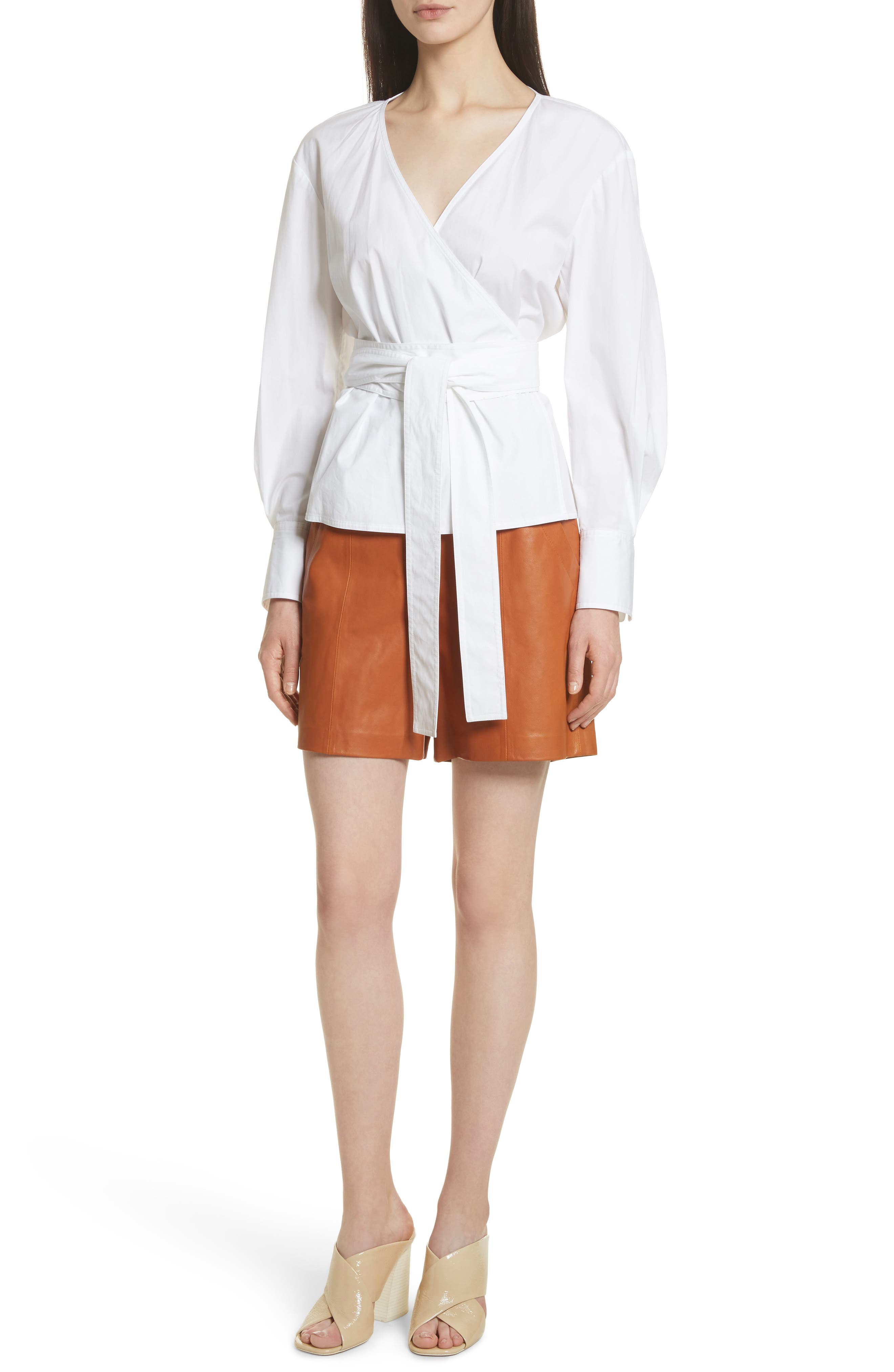 Leather Sailor Shorts,                             Alternate thumbnail 8, color,                             Ginger