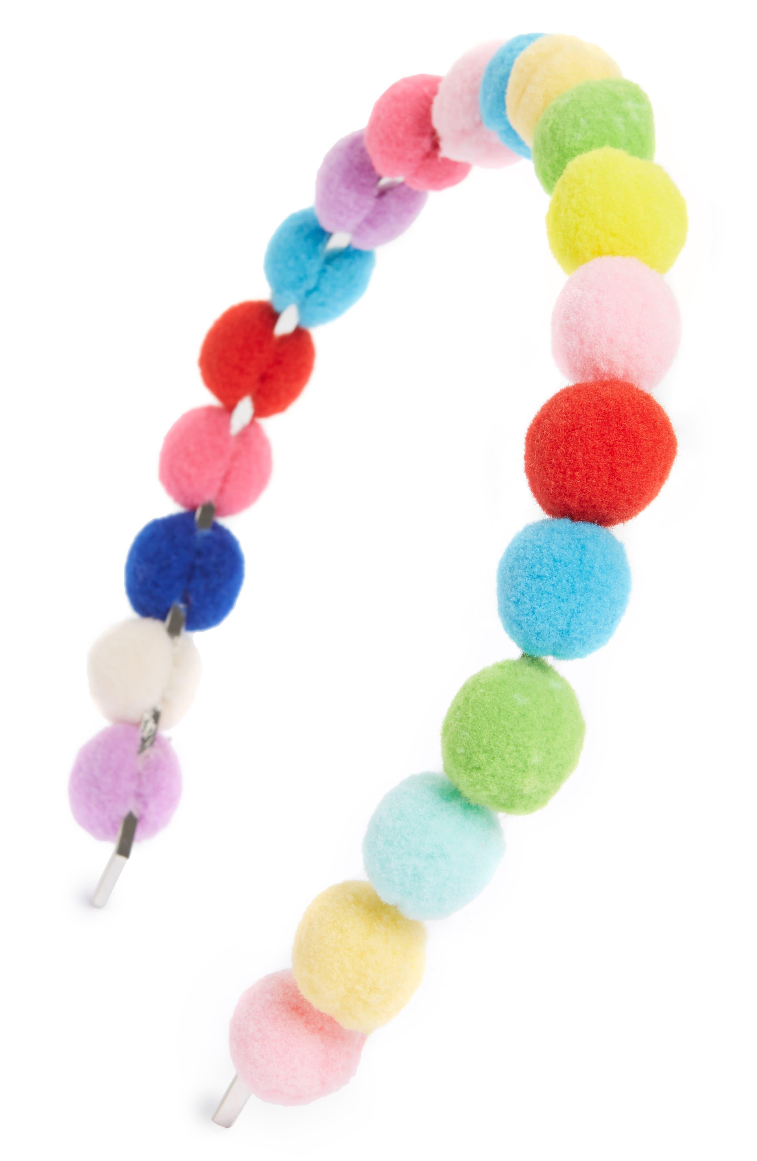 Pompom Headband,                         Main,                         color, Pink Multi