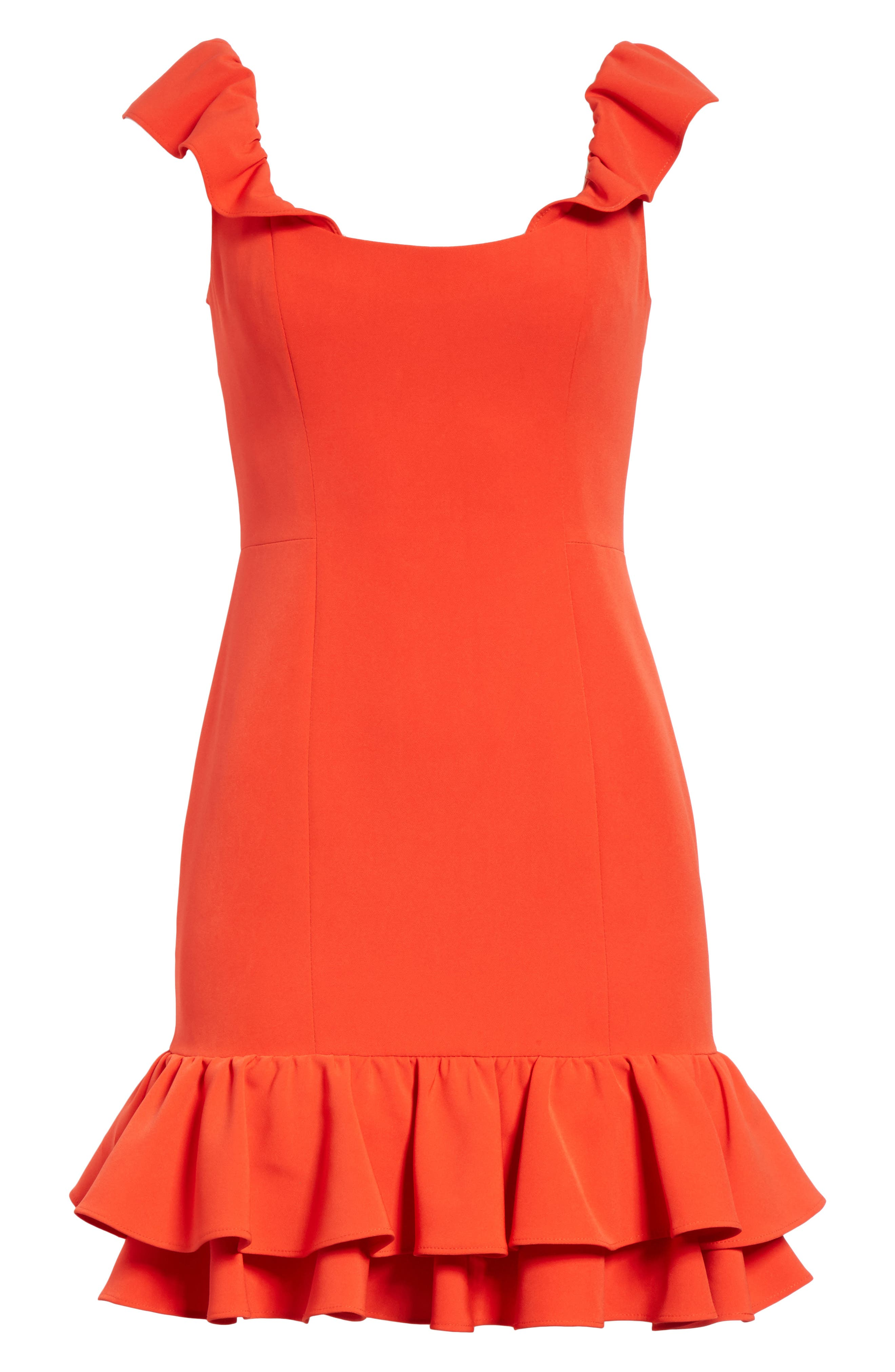 Savannah Ruffle Crepe Minidress,                             Alternate thumbnail 6, color,                             Tomato