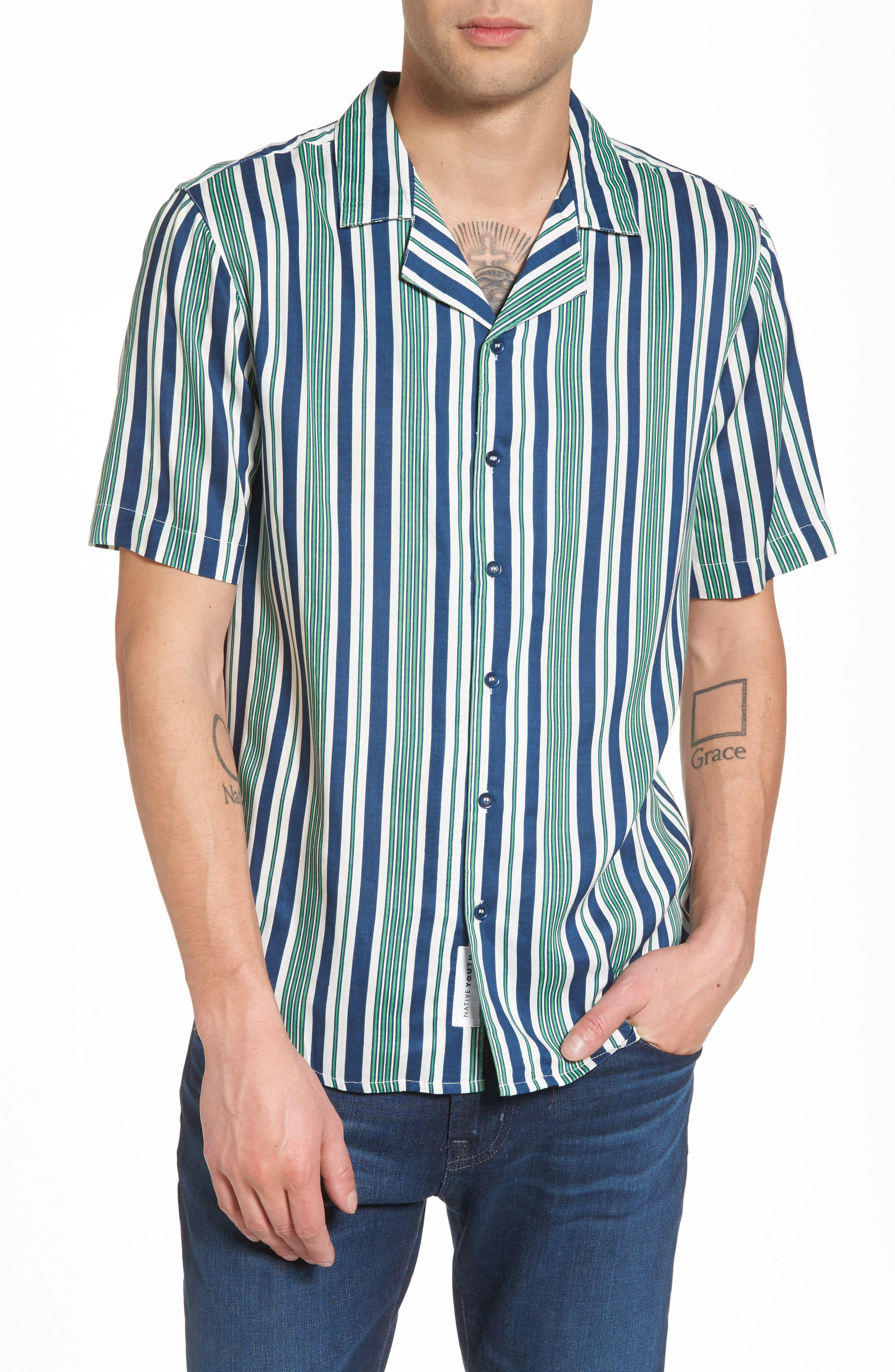 Bay Stripe Woven Shirt,                         Main,                         color, Green