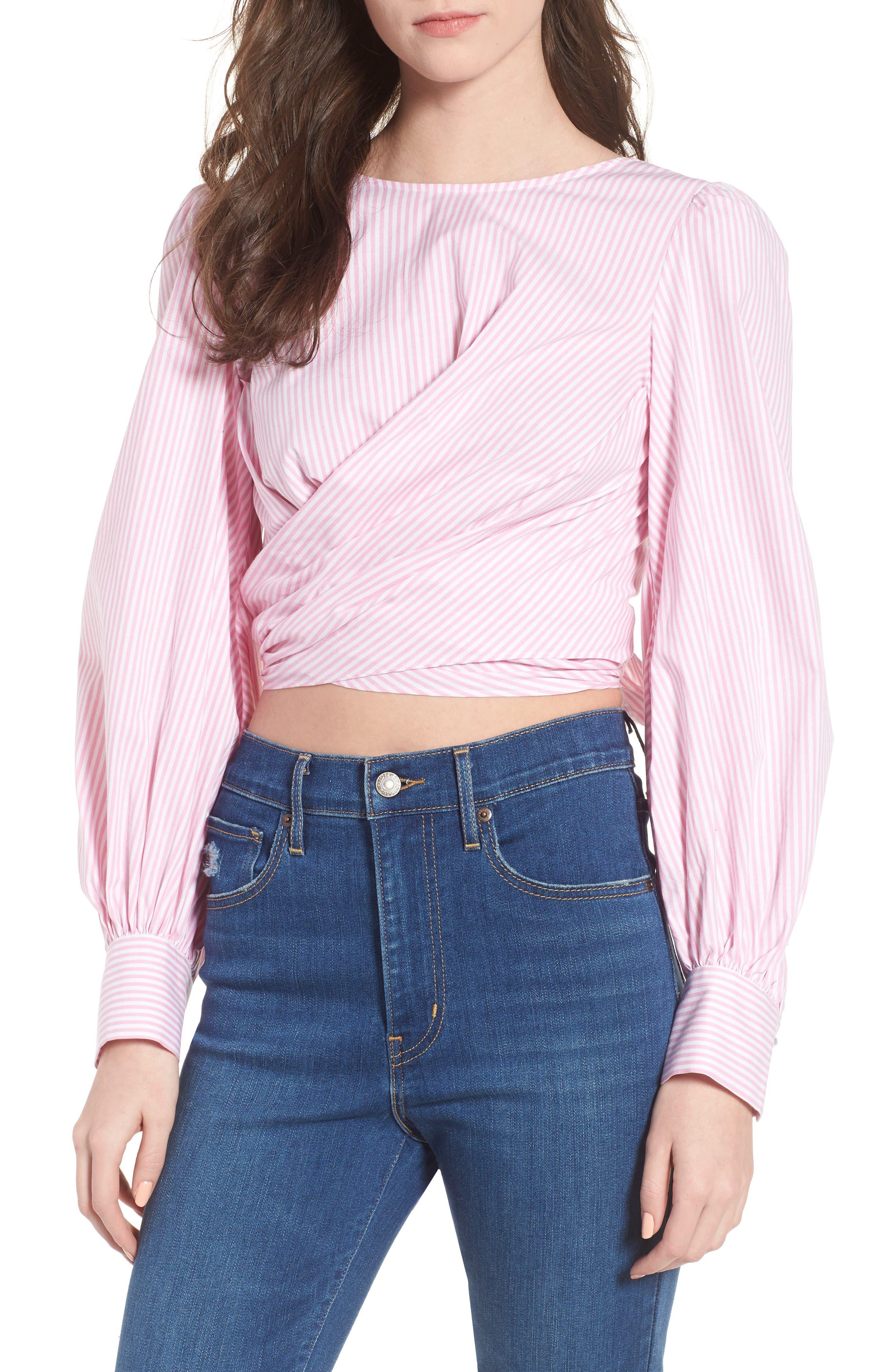 Dayna Tie Back Poplin Top,                         Main,                         color, Pink Stripe