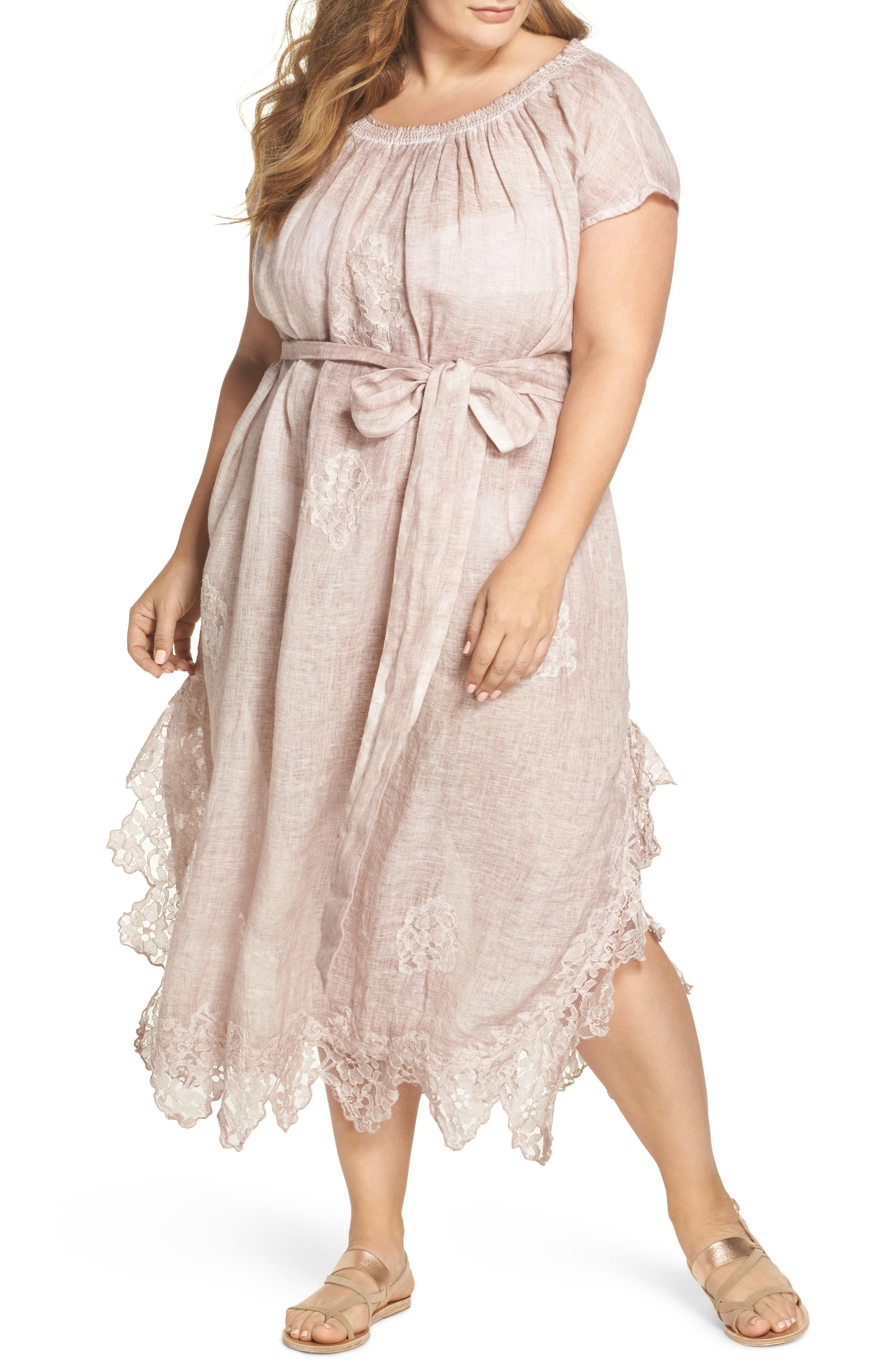 Daisy Linen Cover-Up Dress,                         Main,                         color, Dusty Pink
