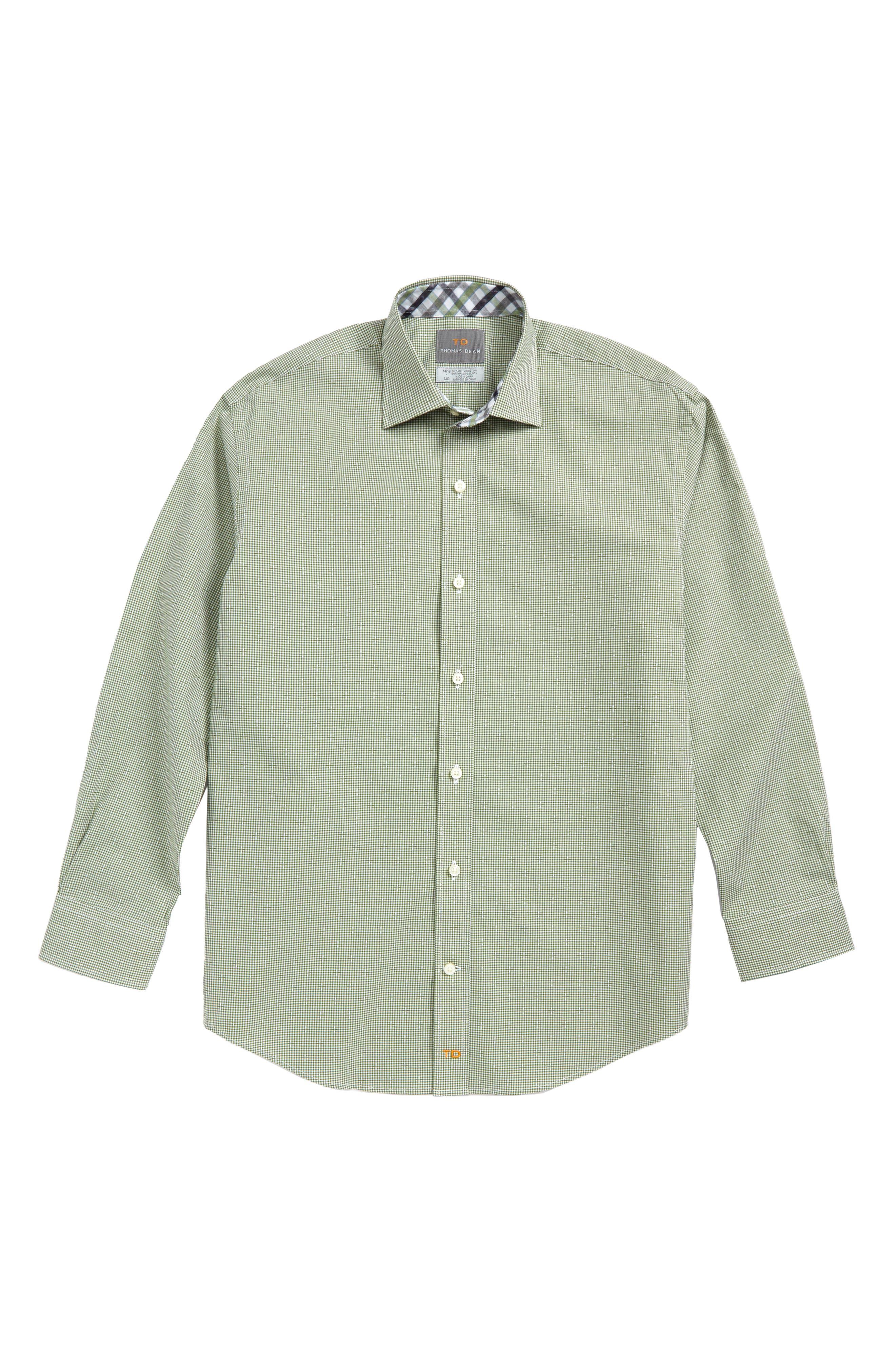 Microcheck Dress Shirt,                         Main,                         color, Green