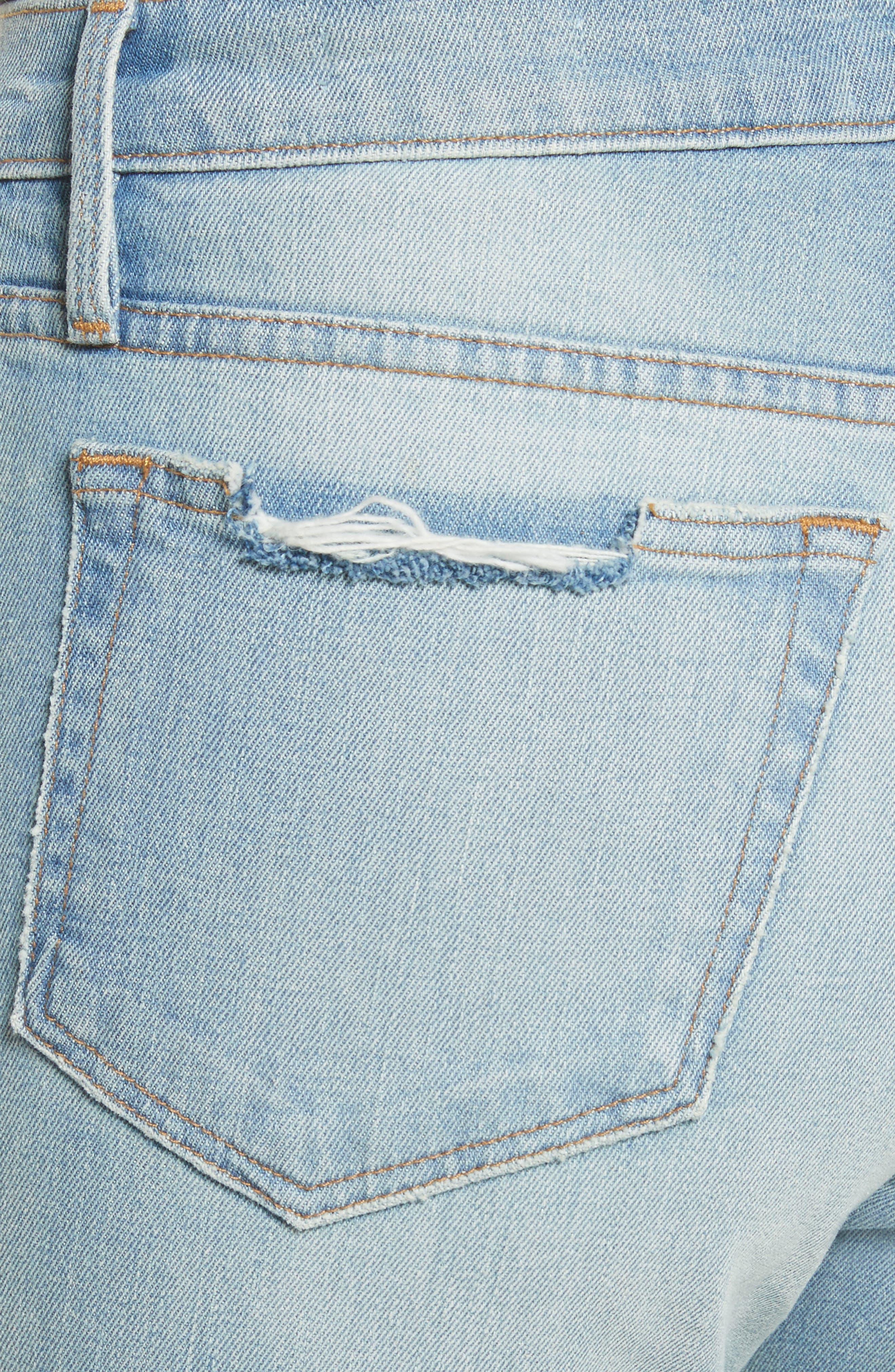 Le Boy High Waist Raw Hem Jeans,                             Alternate thumbnail 4, color,                             Pamder End