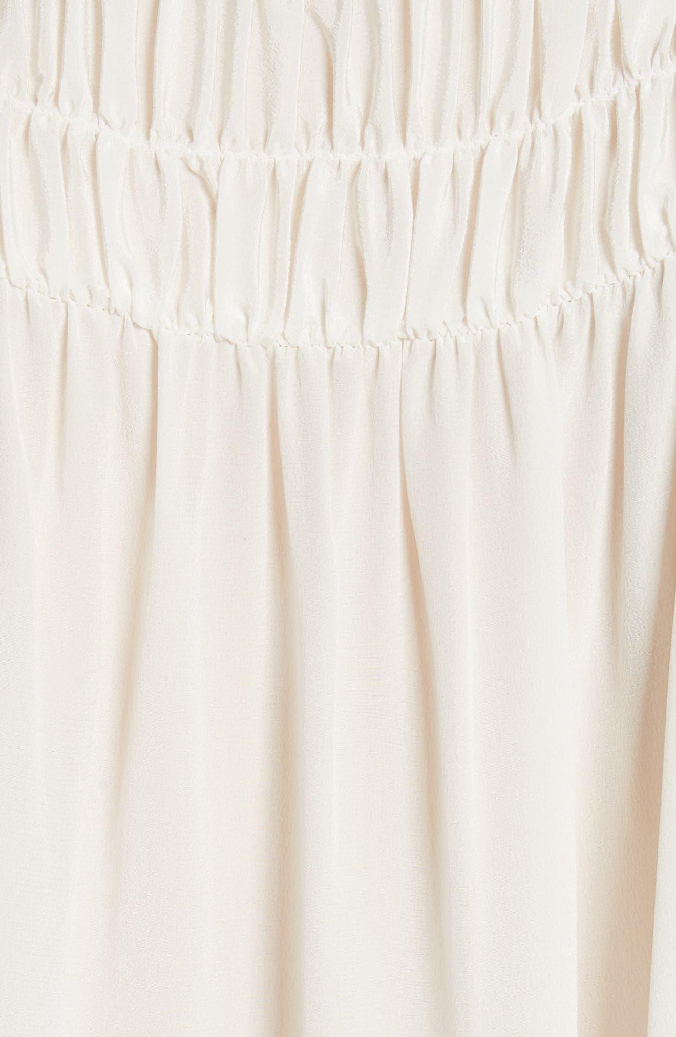 Smocked Sleeveless Silk Blouse,                             Alternate thumbnail 5, color,                             Off White