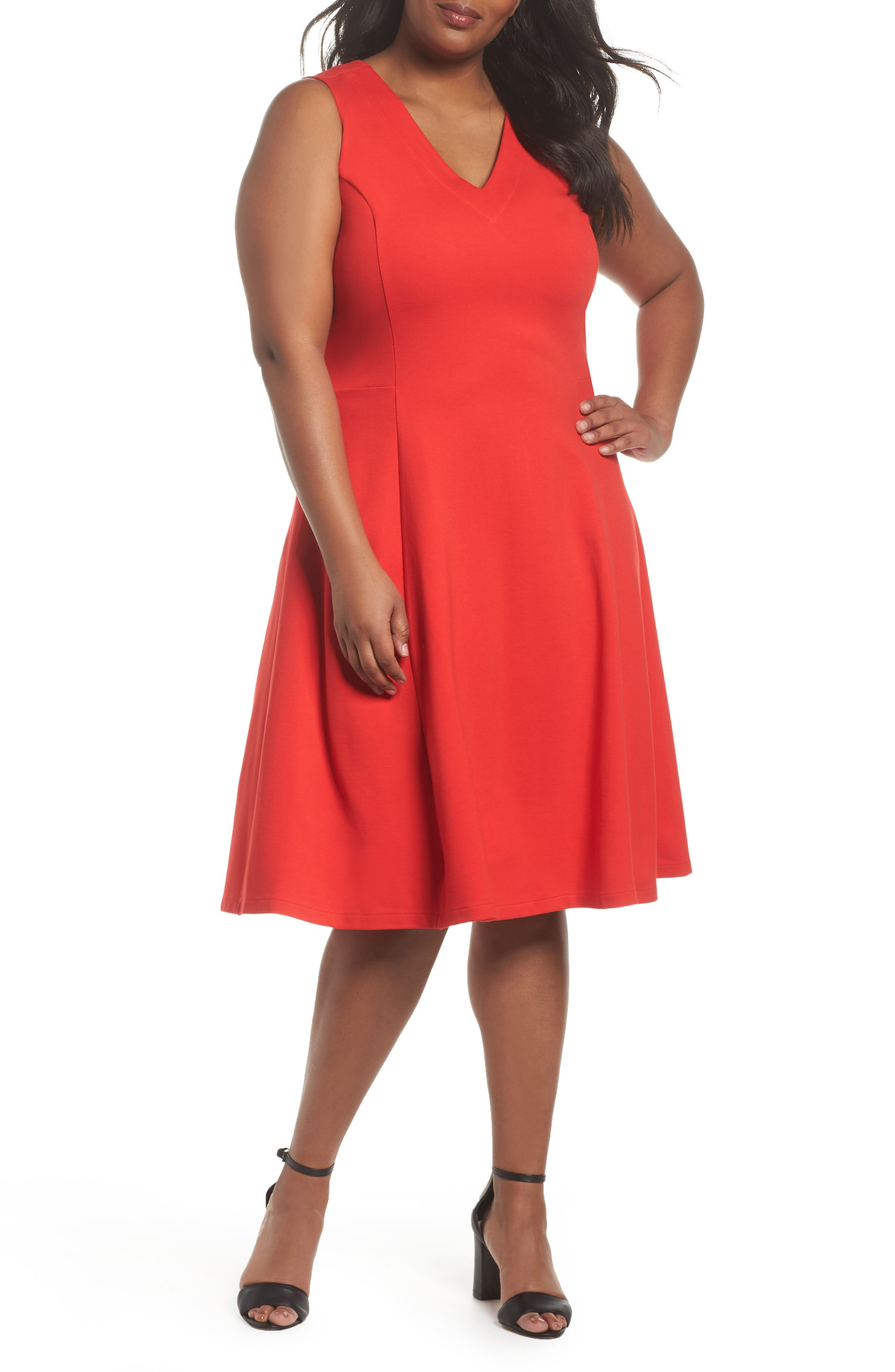 Sejour V-Neck Ponte Fit & Flare Dress (Plus Size)