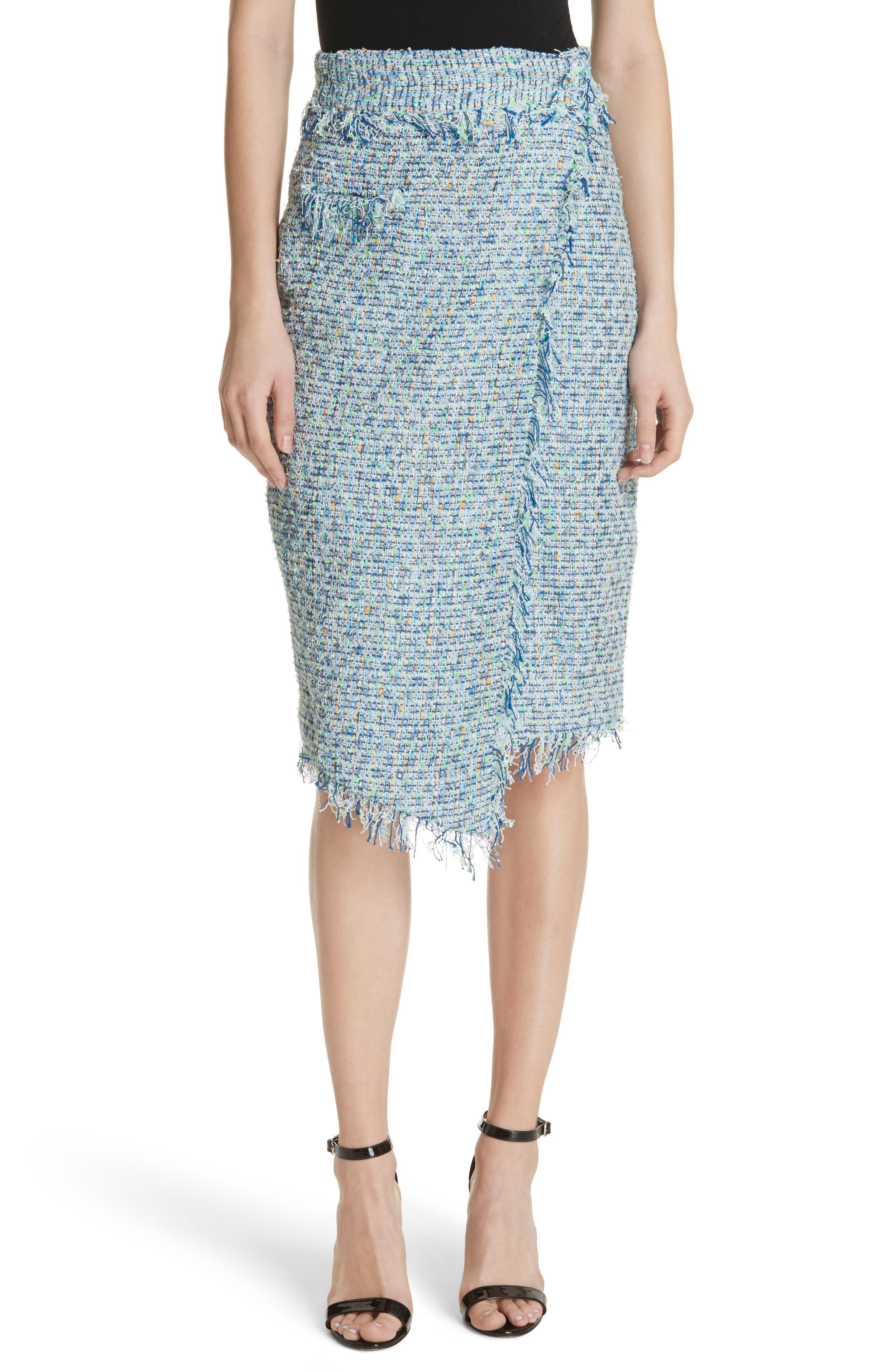 Tweed Wrap Skirt,                         Main,                         color, Blue
