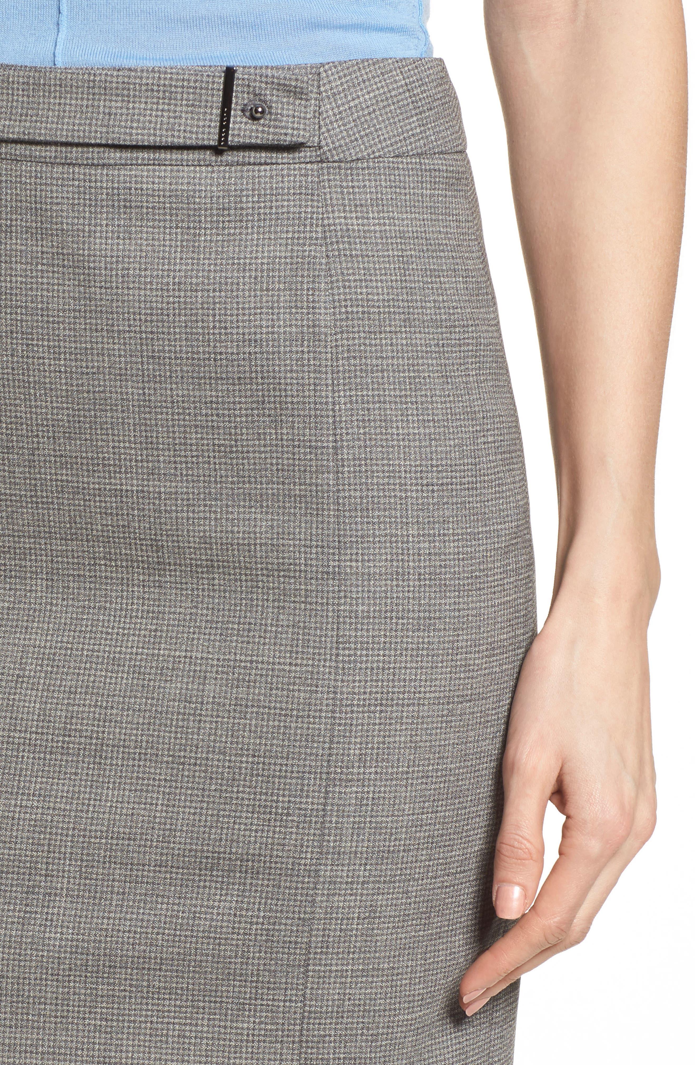 Vewisa Check Wool Suit Skirt,                             Alternate thumbnail 4, color,                             Cozy Grey Melange Fantasy