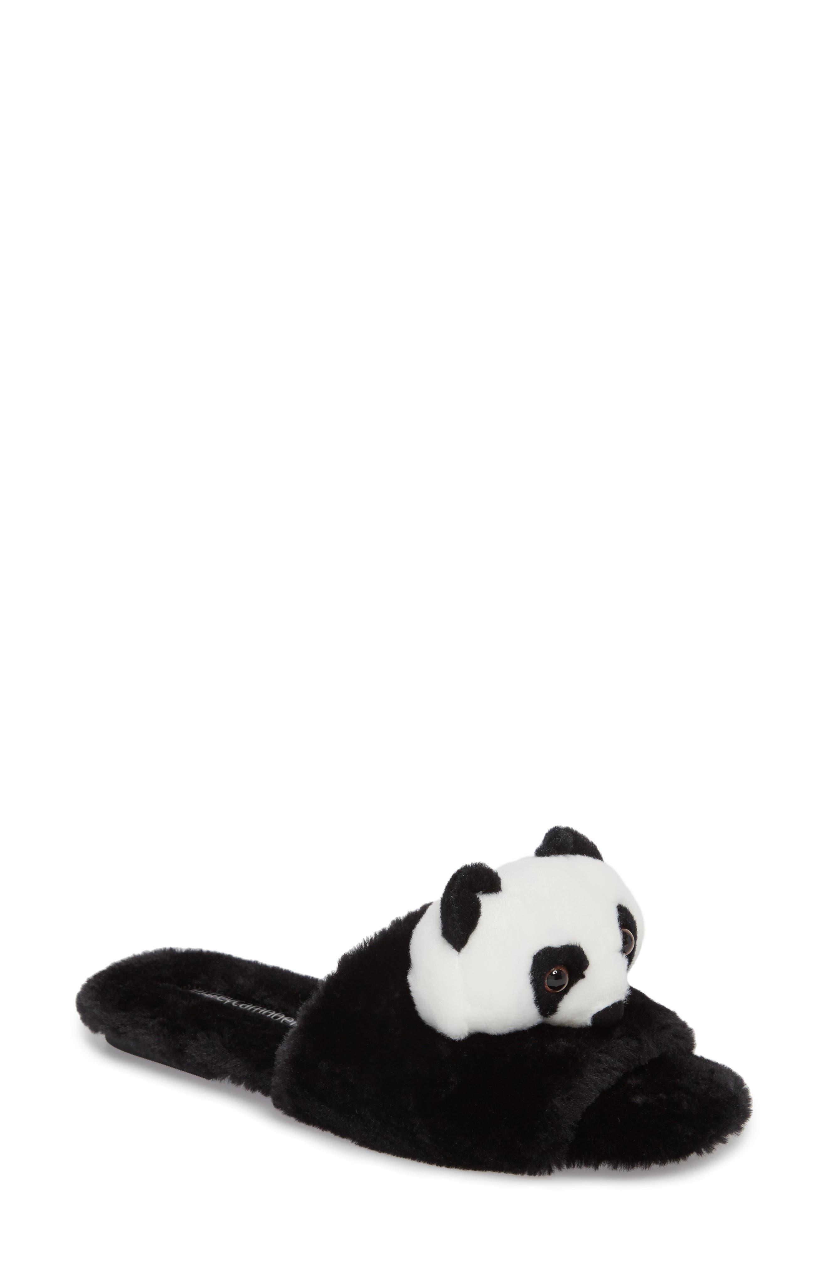 Plush Animal Slipper,                         Main,                         color, Black Faux Fur