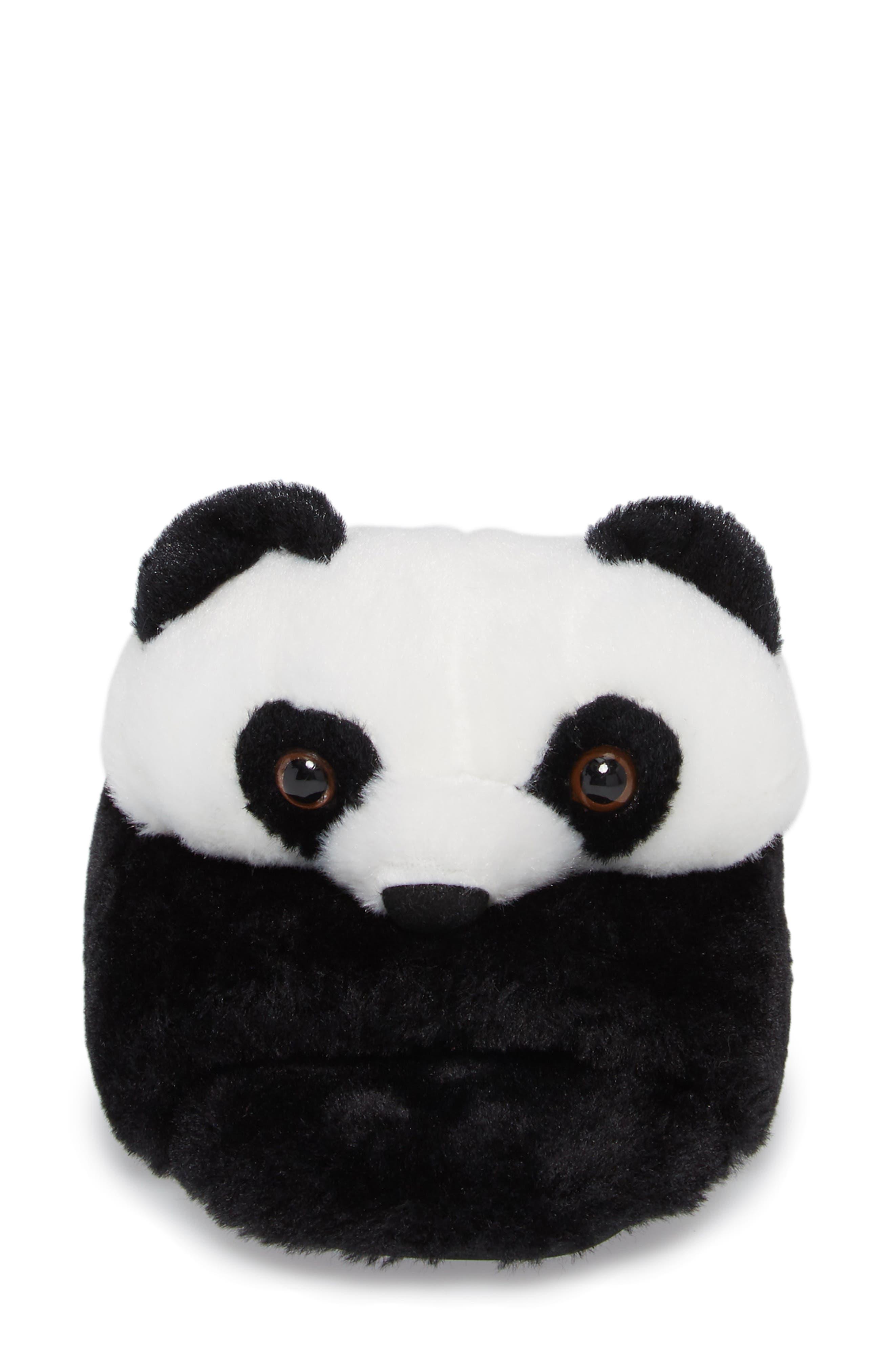 Plush Animal Slipper,                             Alternate thumbnail 4, color,                             Black Faux Fur