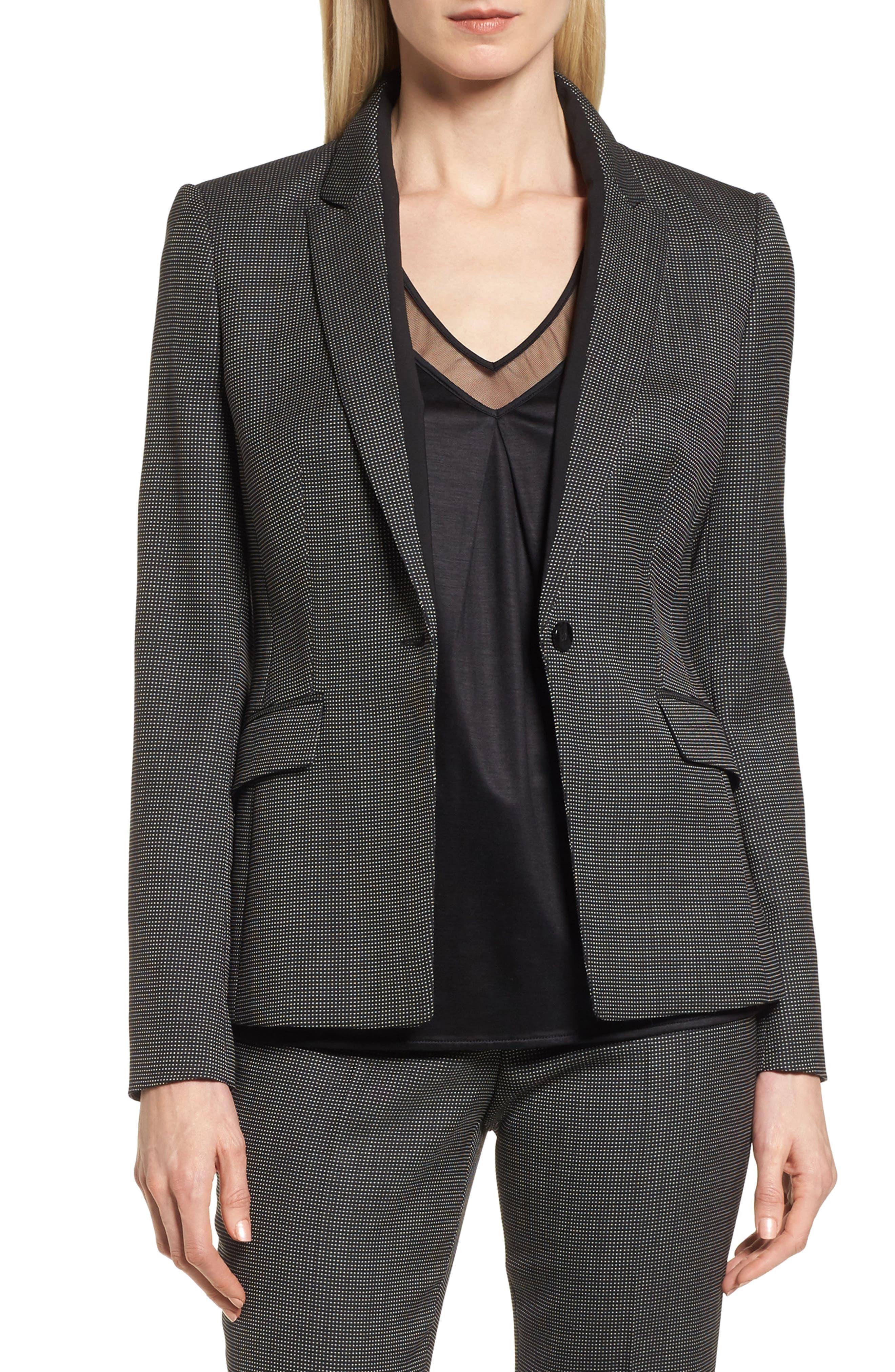 Jeresa Check Stretch Wool Suit Jacket,                         Main,                         color, Black Fantasy
