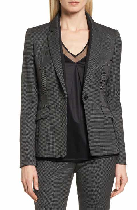 BOSS Jeresa Check Stretch Wool Suit Jacket (Regular & Petite)