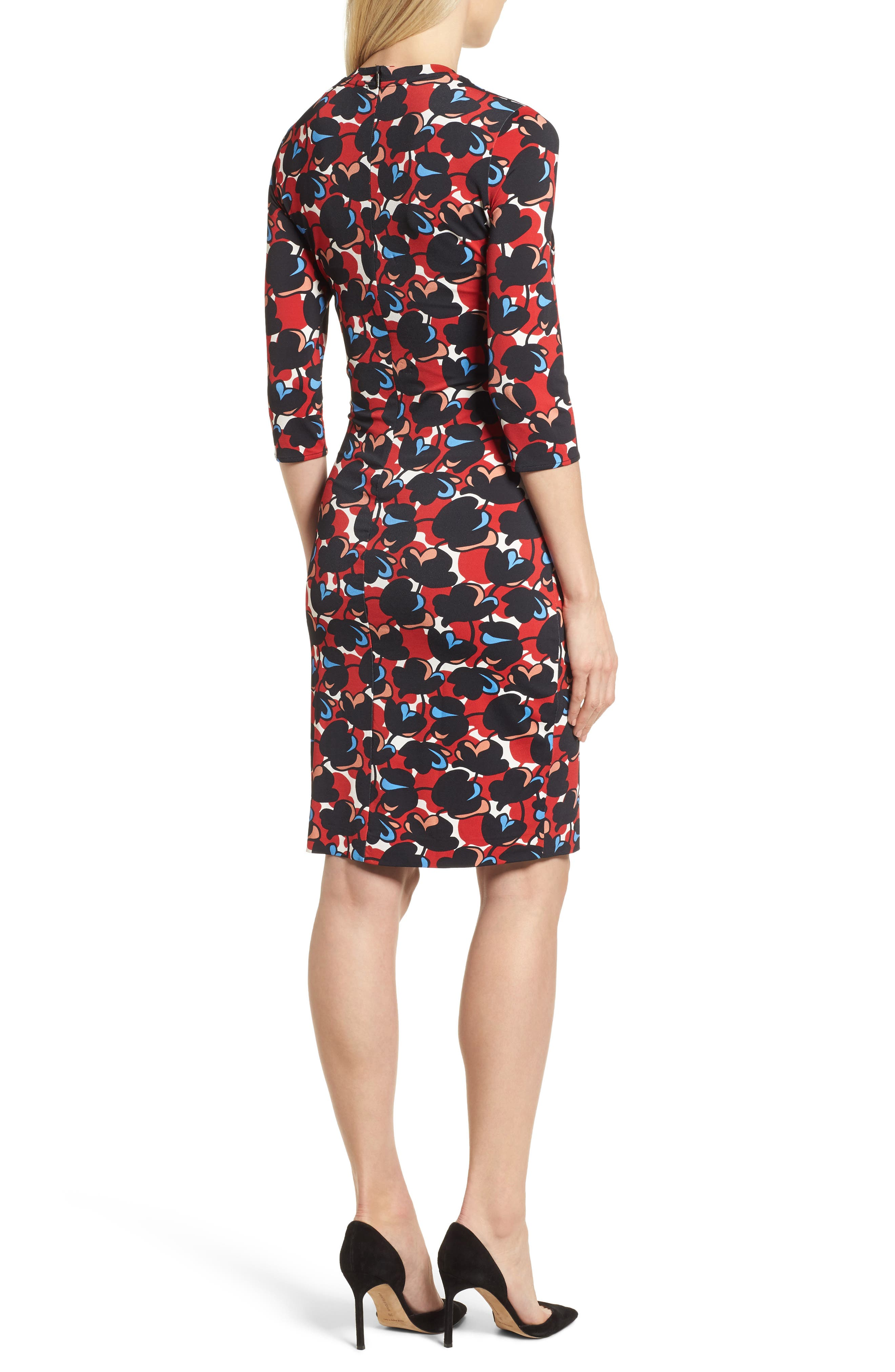 Eleika Print Jersey Sheath Dress,                             Alternate thumbnail 2, color,                             Multicolor Flower Print