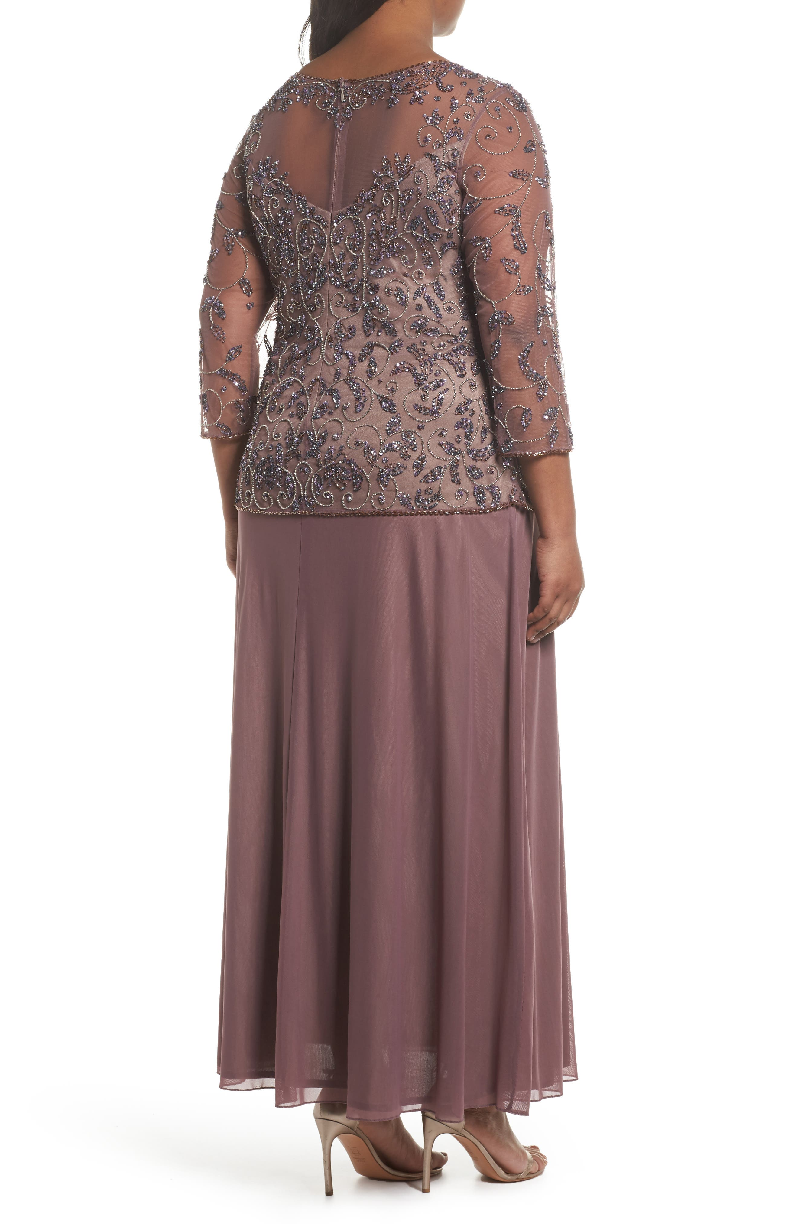 Pissaro Nights Beaded Mesh Mock Two-Piece Gown,                             Alternate thumbnail 2, color,                             Lavender